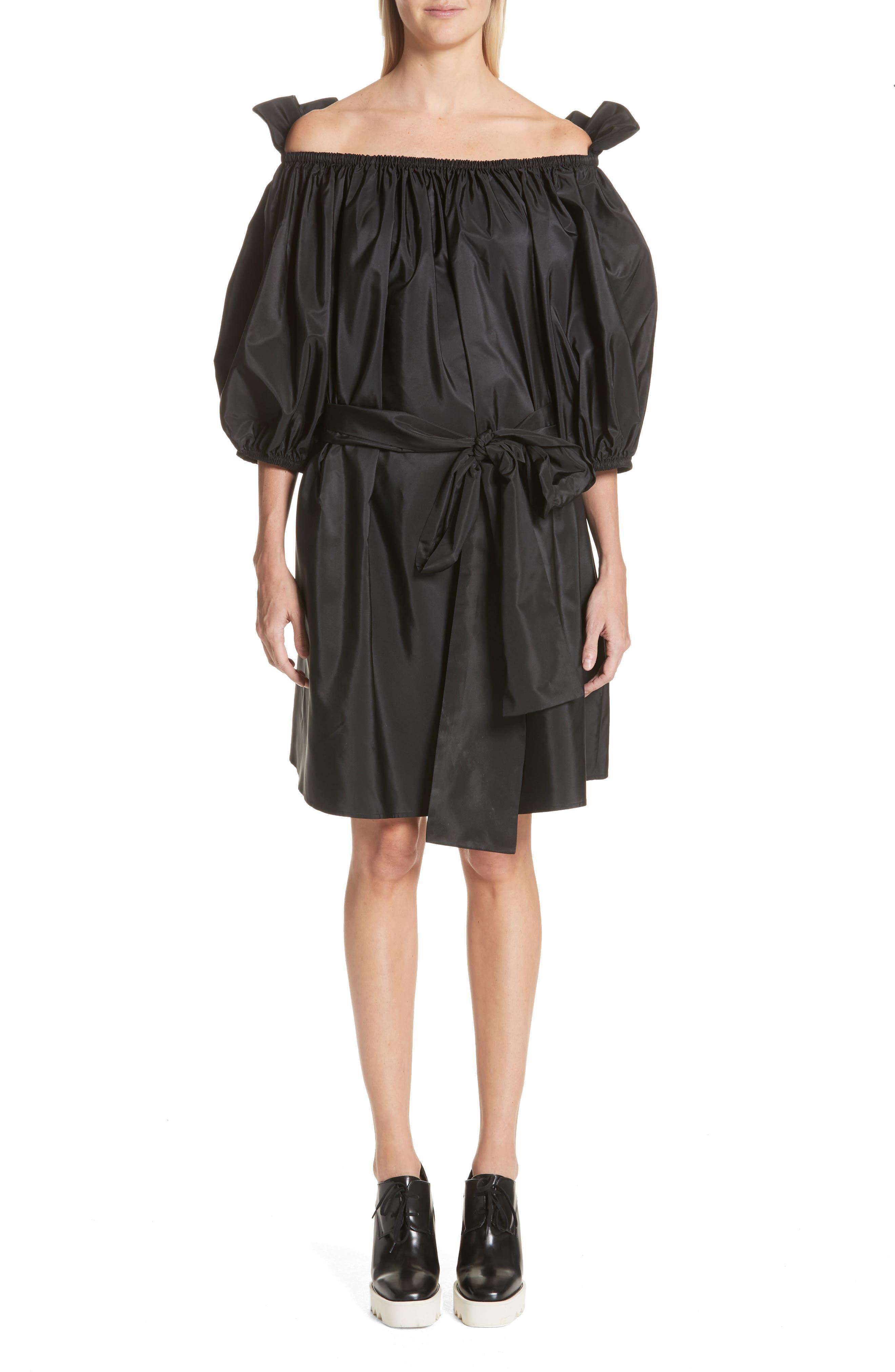 Belted Off the Shoulder Taffeta Dress,                             Main thumbnail 1, color,                             Black