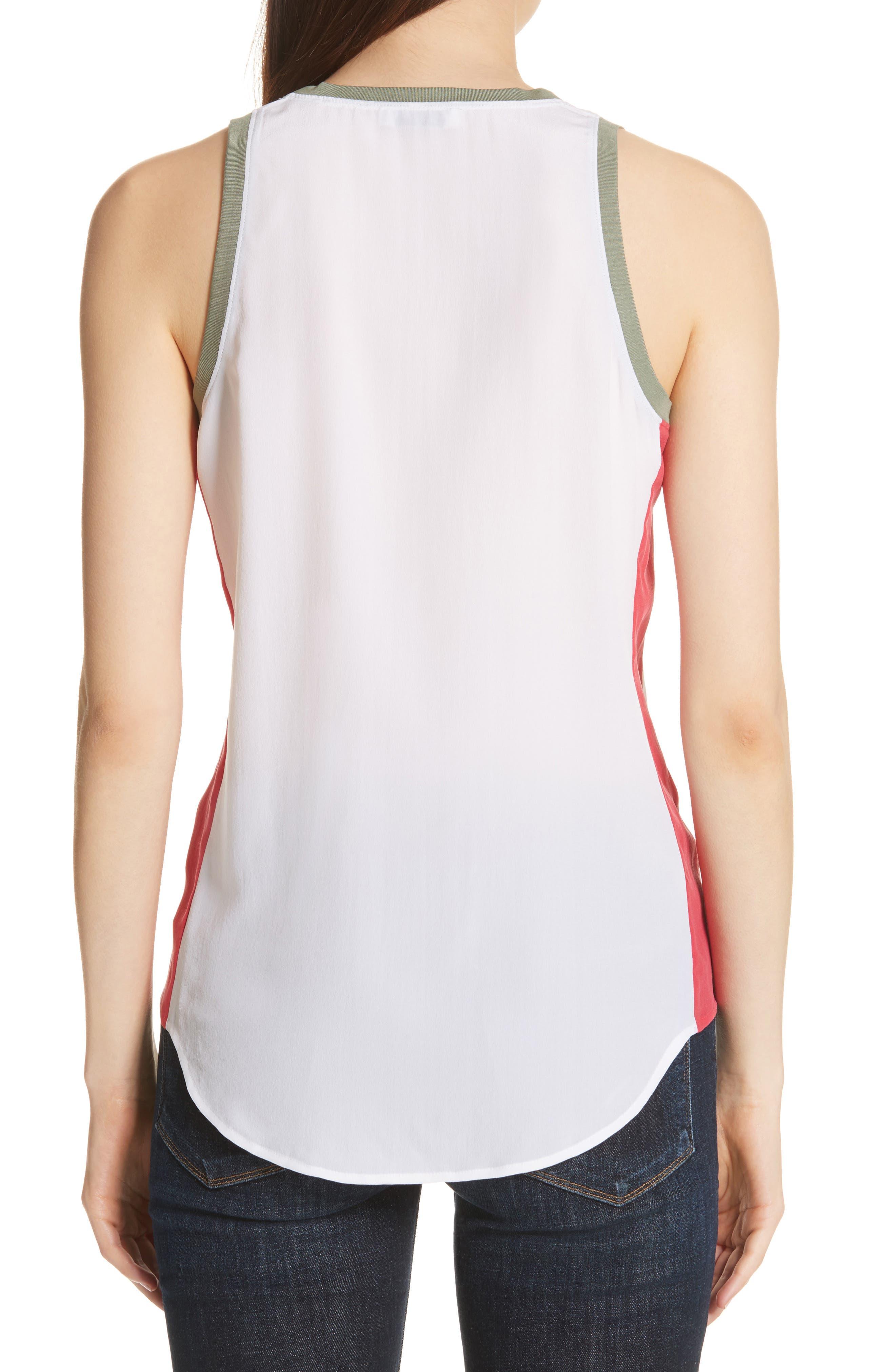 Mel Colorblock Silk Tank,                             Alternate thumbnail 2, color,                             Bright White
