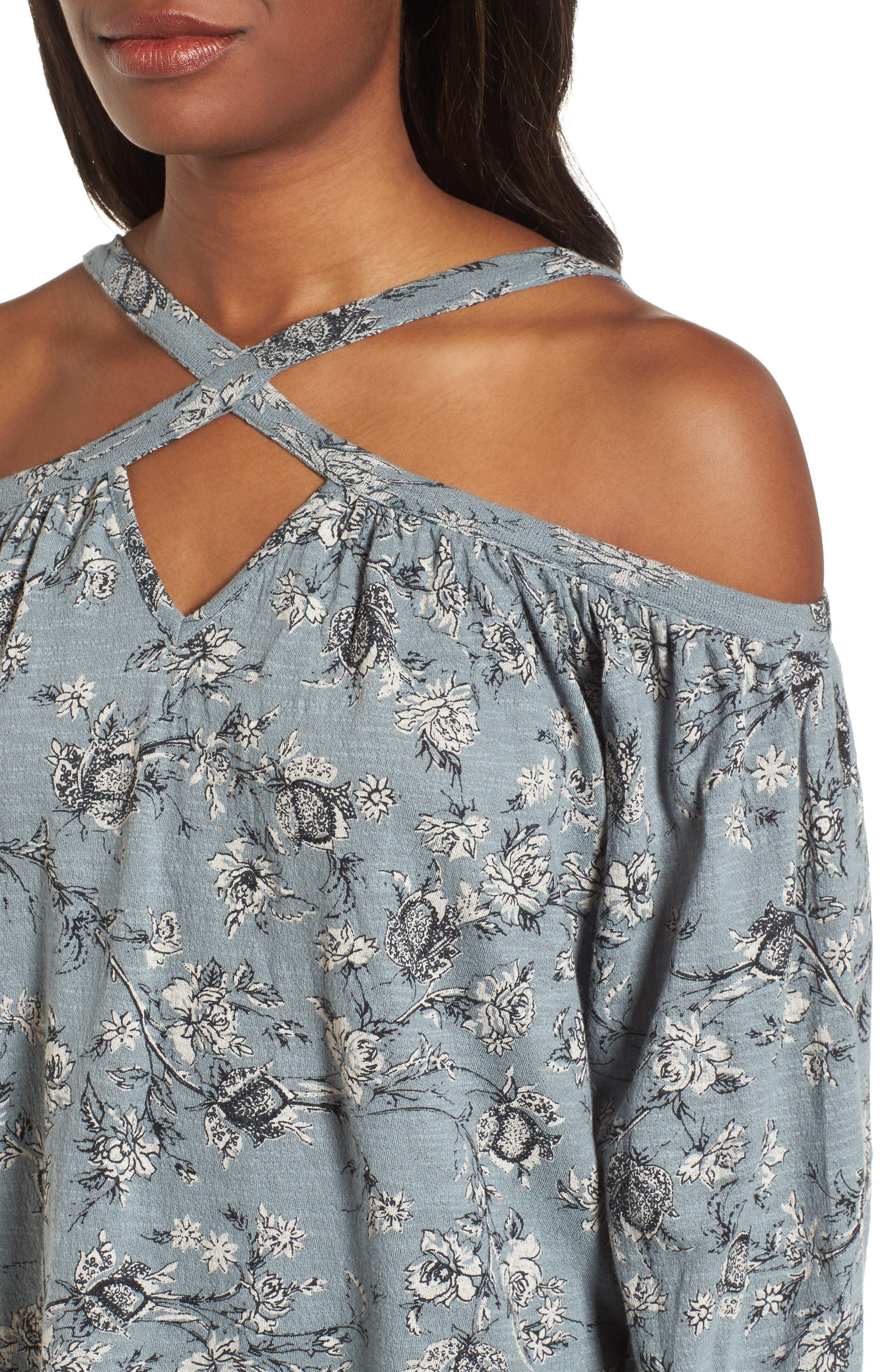 Floral Cold Shoulder Blouse,                             Alternate thumbnail 4, color,                             Blue Multi