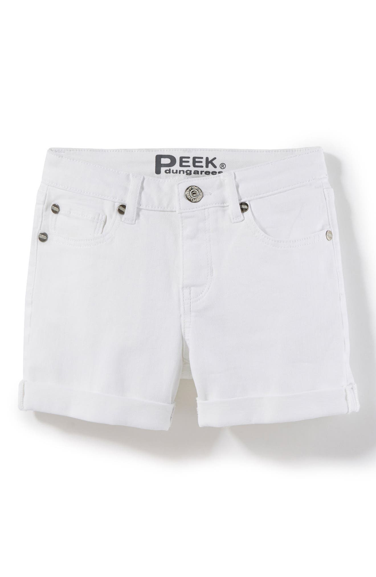 Griffin Roll Cuff Shorts,                             Main thumbnail 1, color,                             White