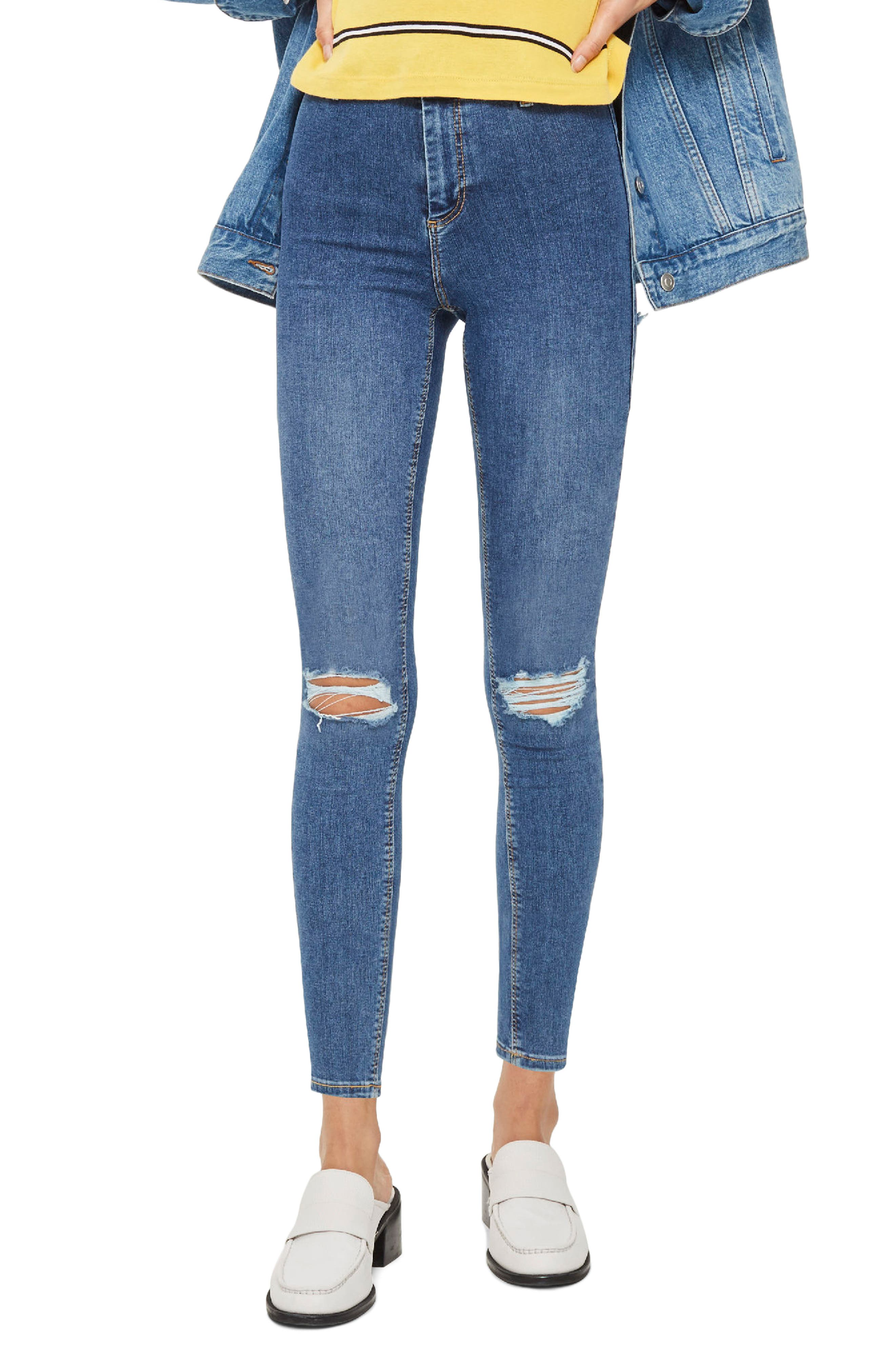 Joni Distressed Skinny Jeans,                             Main thumbnail 1, color,                             Mid Denim
