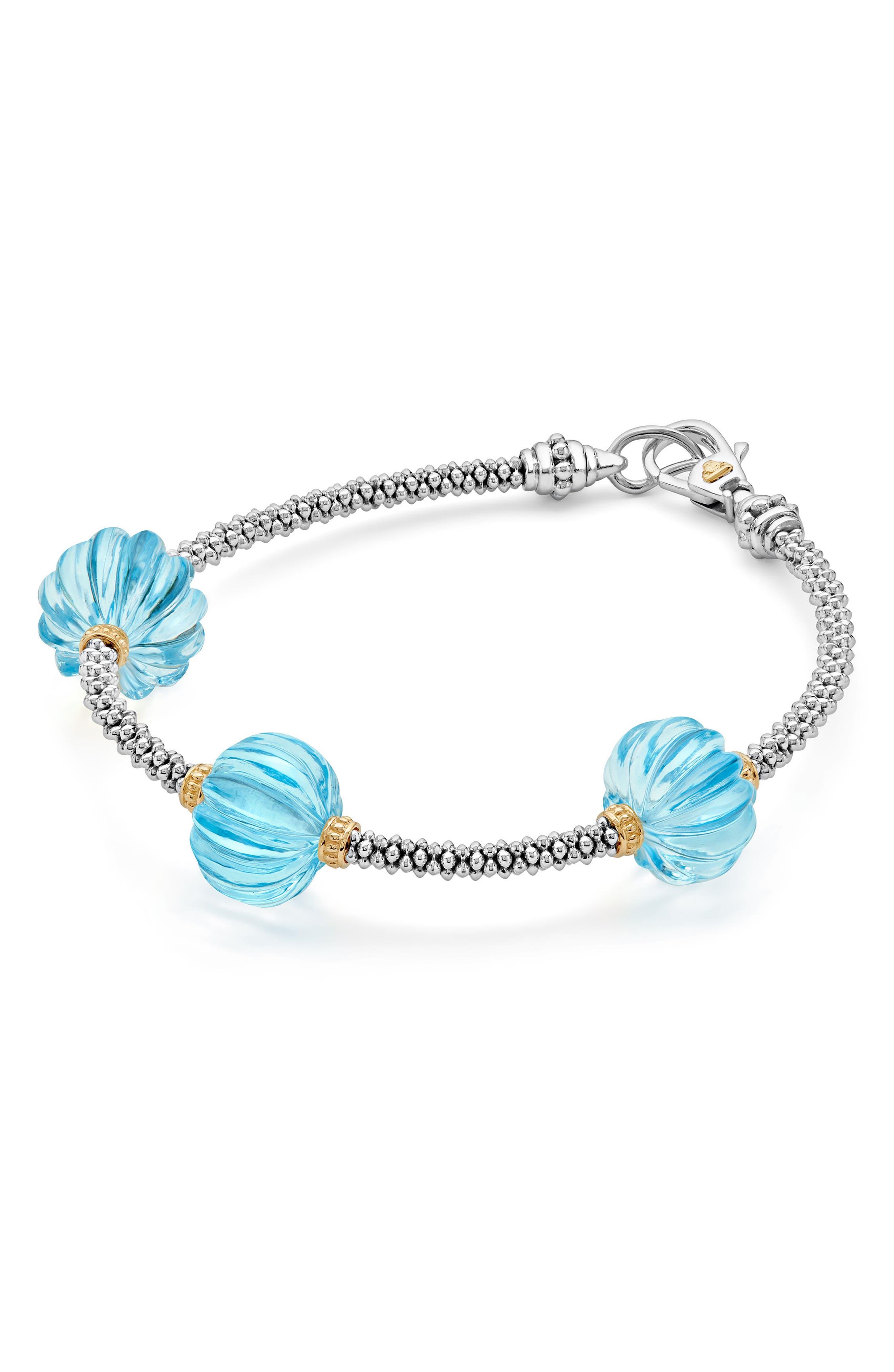 Caviar Forever Melon Bead Station Bracelet,                             Alternate thumbnail 3, color,                             Silver/ Sky Blue Topaz