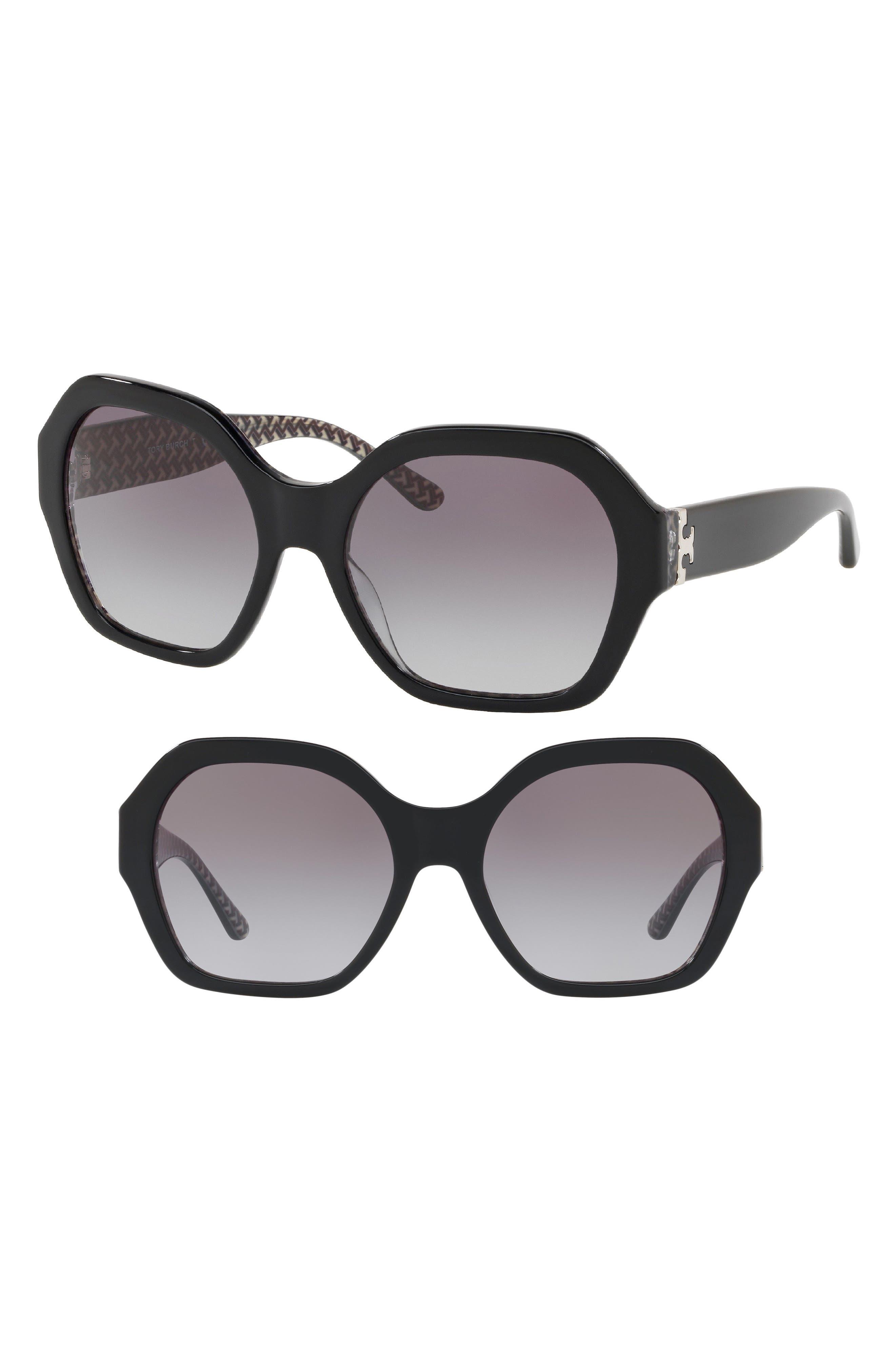 Serif T 57mm Hexagonal Sunglasses,                             Main thumbnail 1, color,                             Black