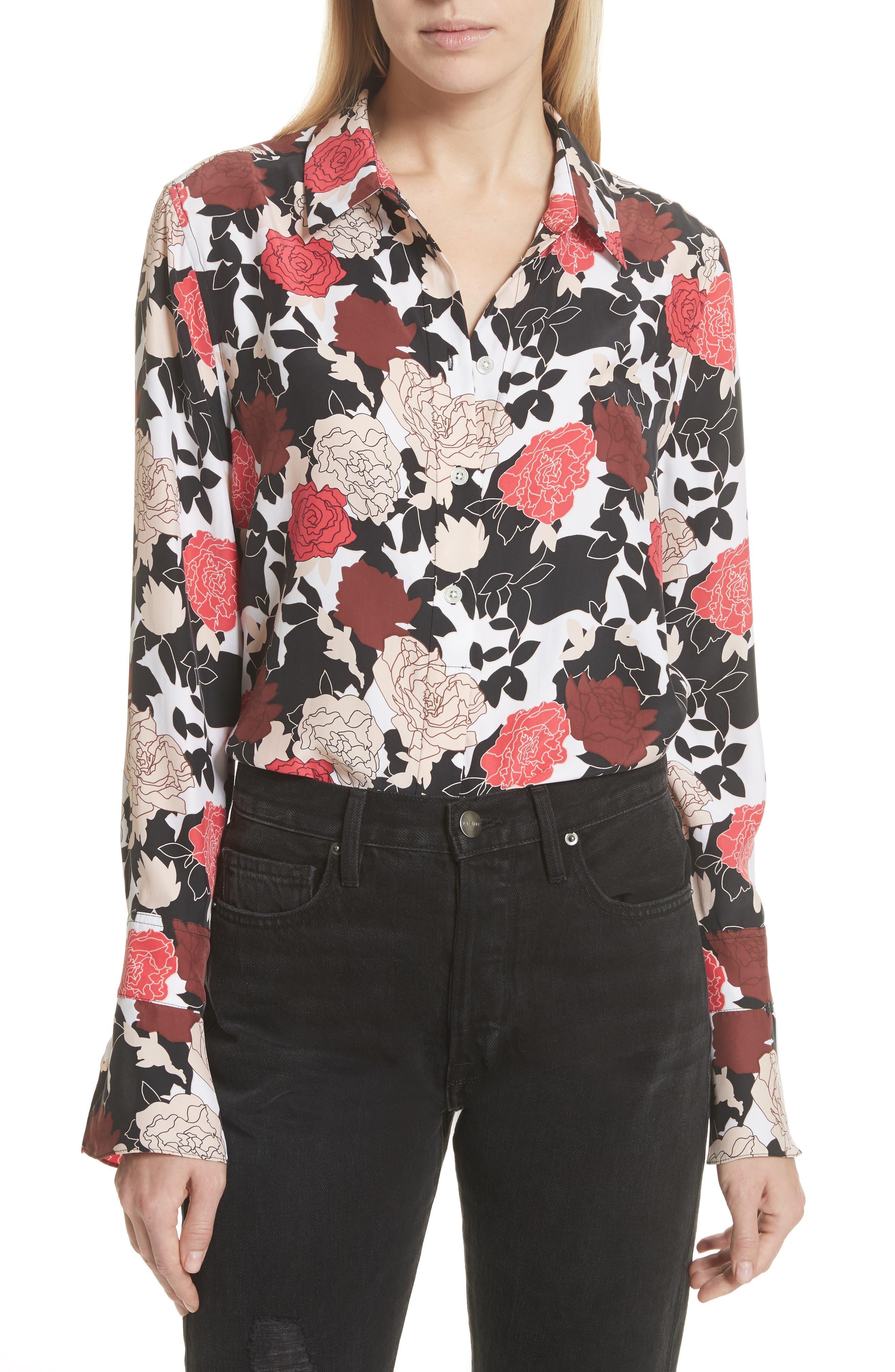Daphne Floral Silk Shirt,                             Main thumbnail 1, color,                             Bright White Multi