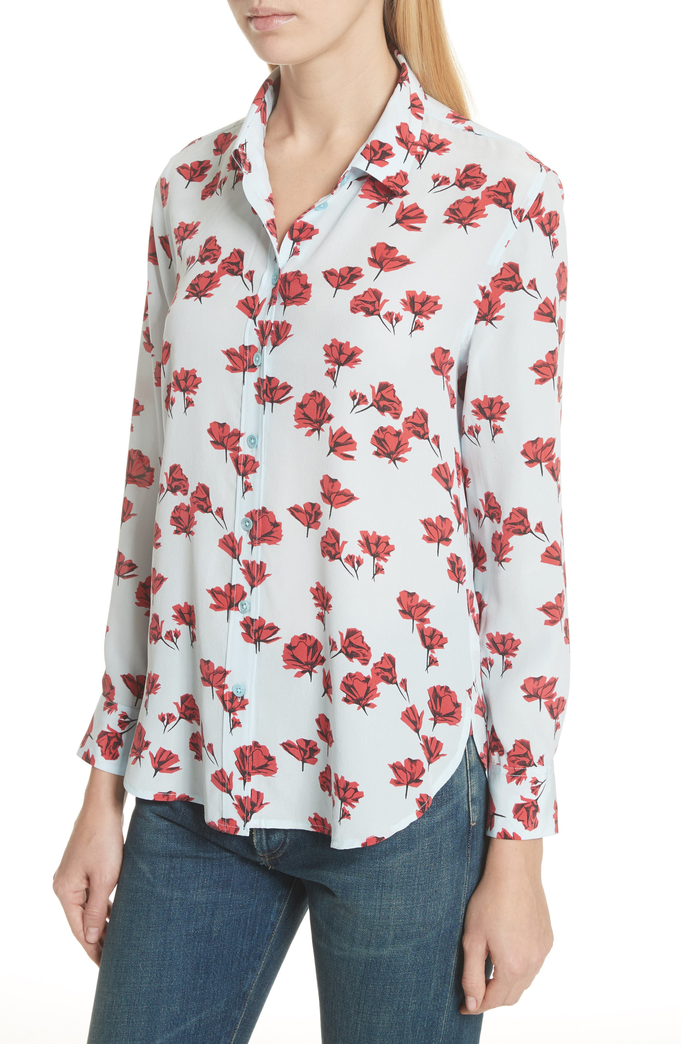 Leema Floral Silk Shirt,                             Alternate thumbnail 4, color,                             Cool Breeze