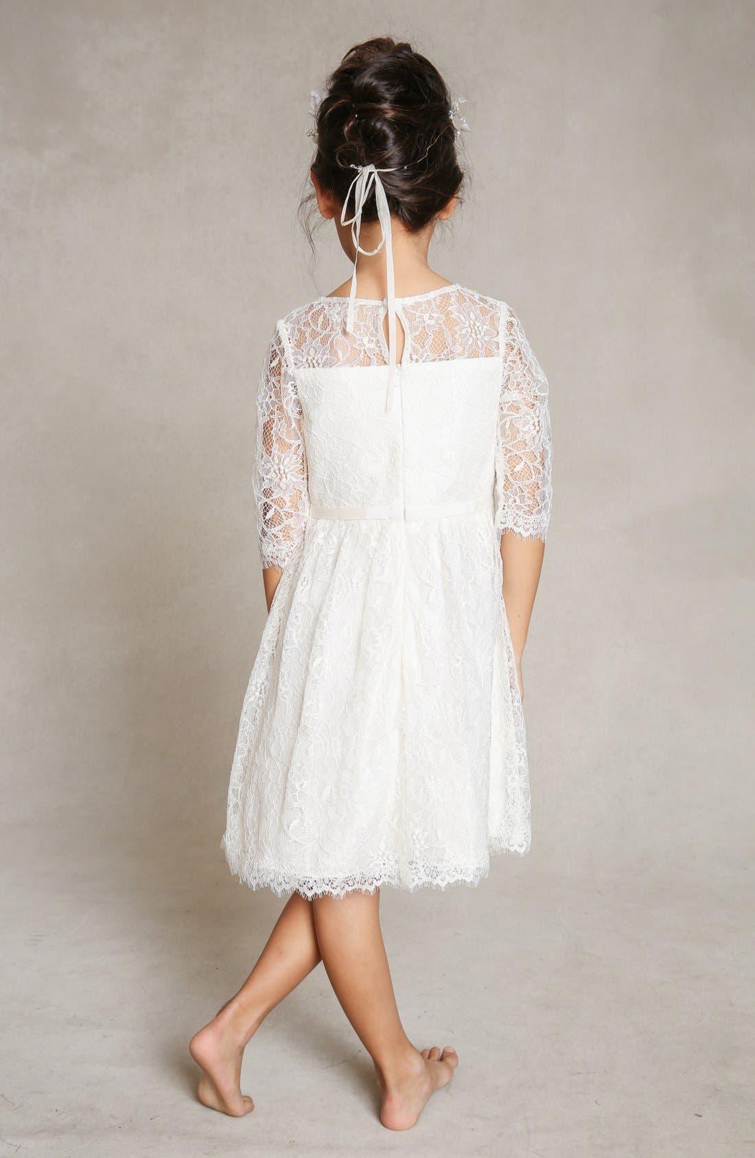 Annie Floral Appliqué Lace Dress,                             Alternate thumbnail 2, color,                             Ivory