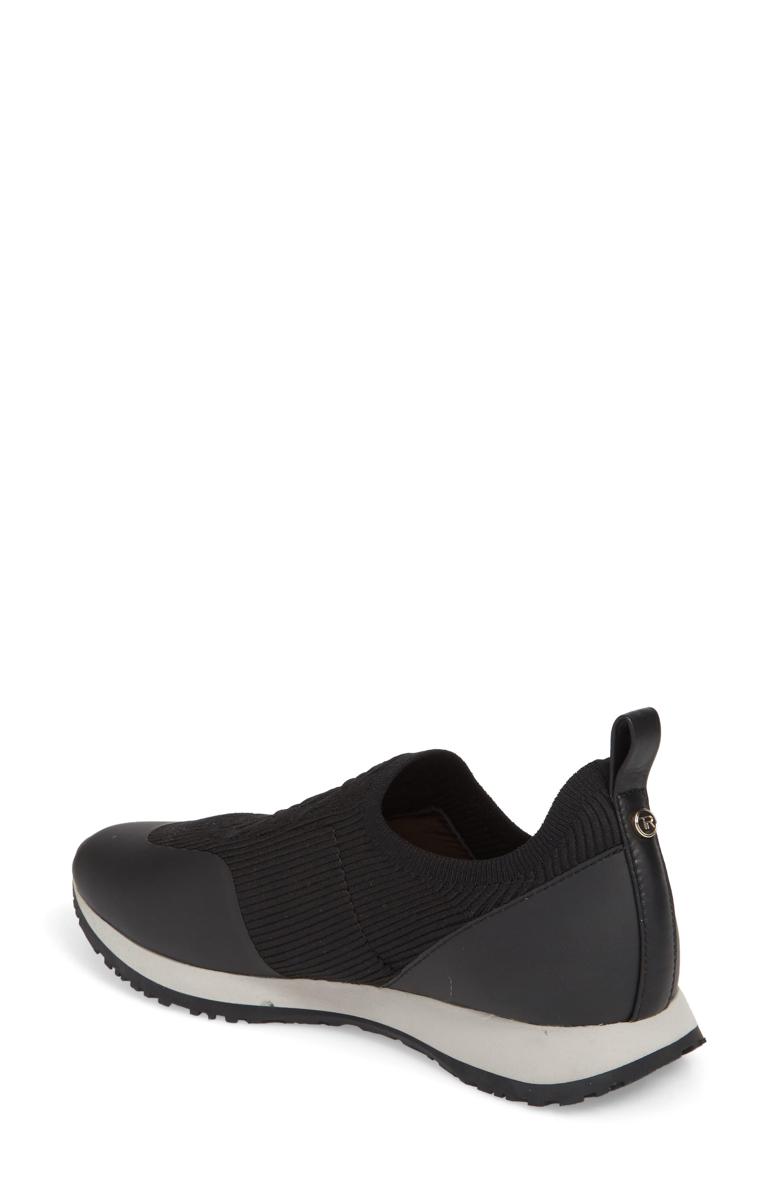 Cara Slip-On Sneaker,                             Alternate thumbnail 2, color,                             Black Fabric