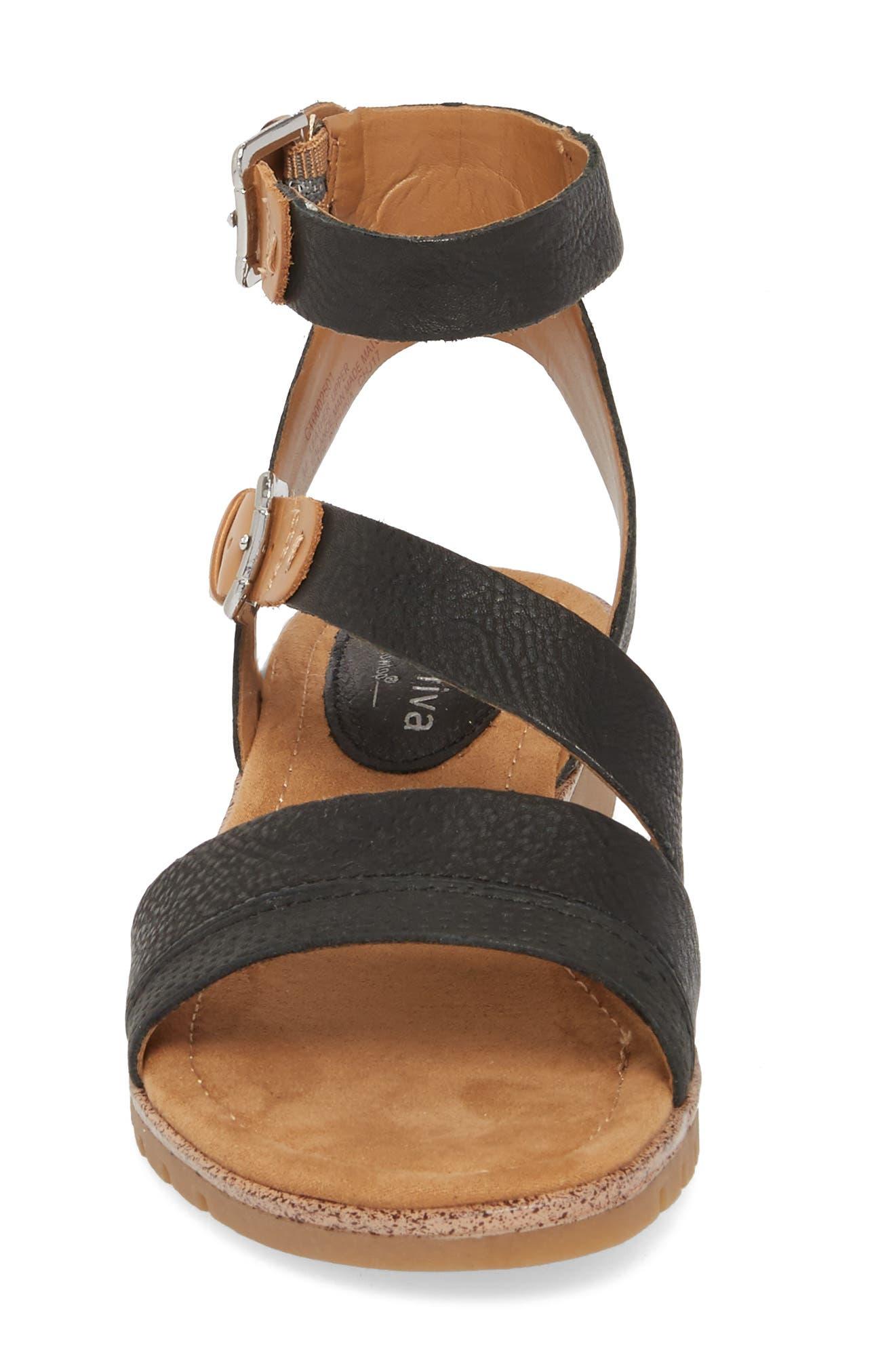 Corvina Sandal,                             Alternate thumbnail 4, color,                             Black/ Sand Leather