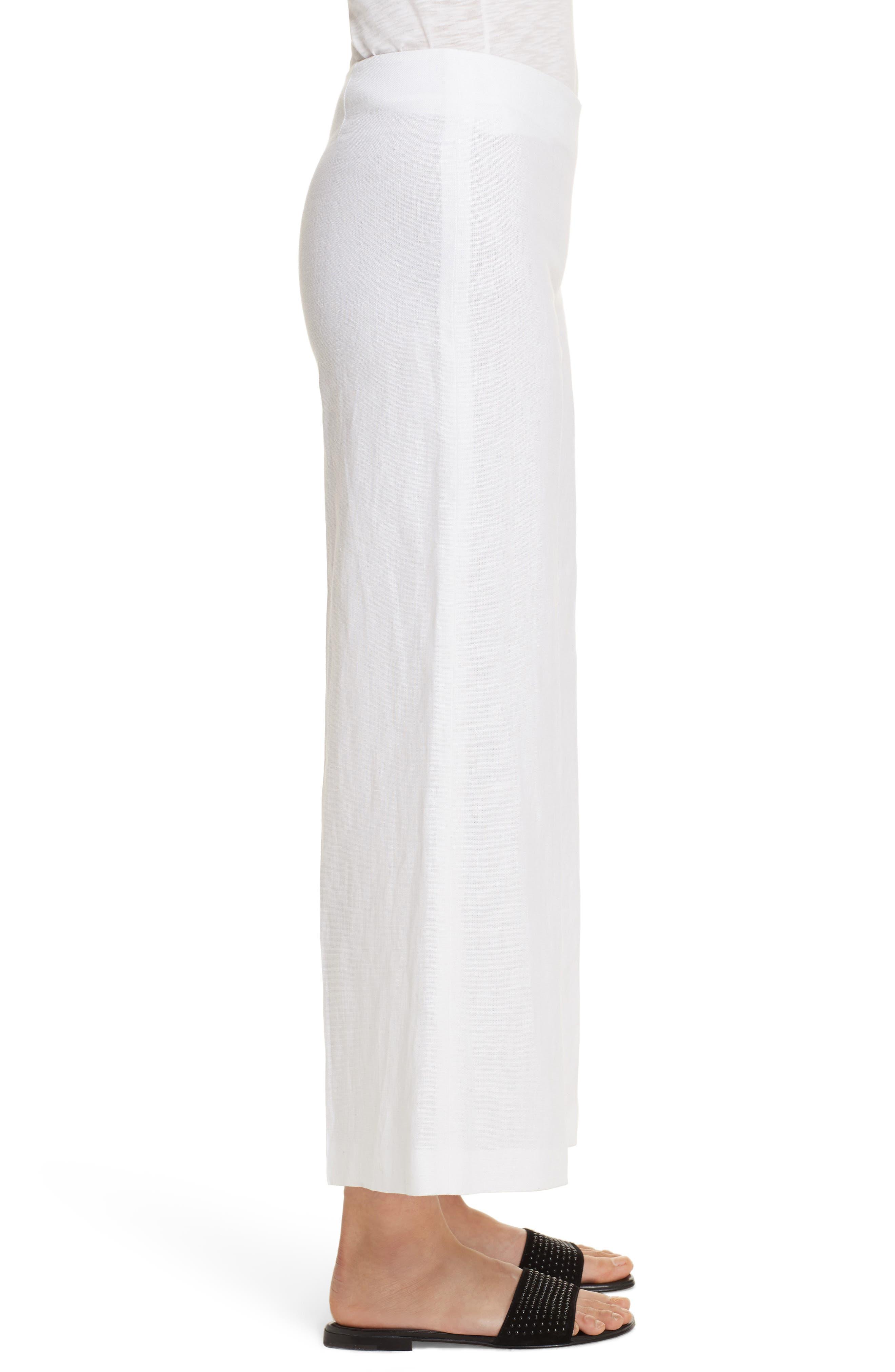 Terena B Linen Wide Leg Pants,                             Alternate thumbnail 3, color,                             White