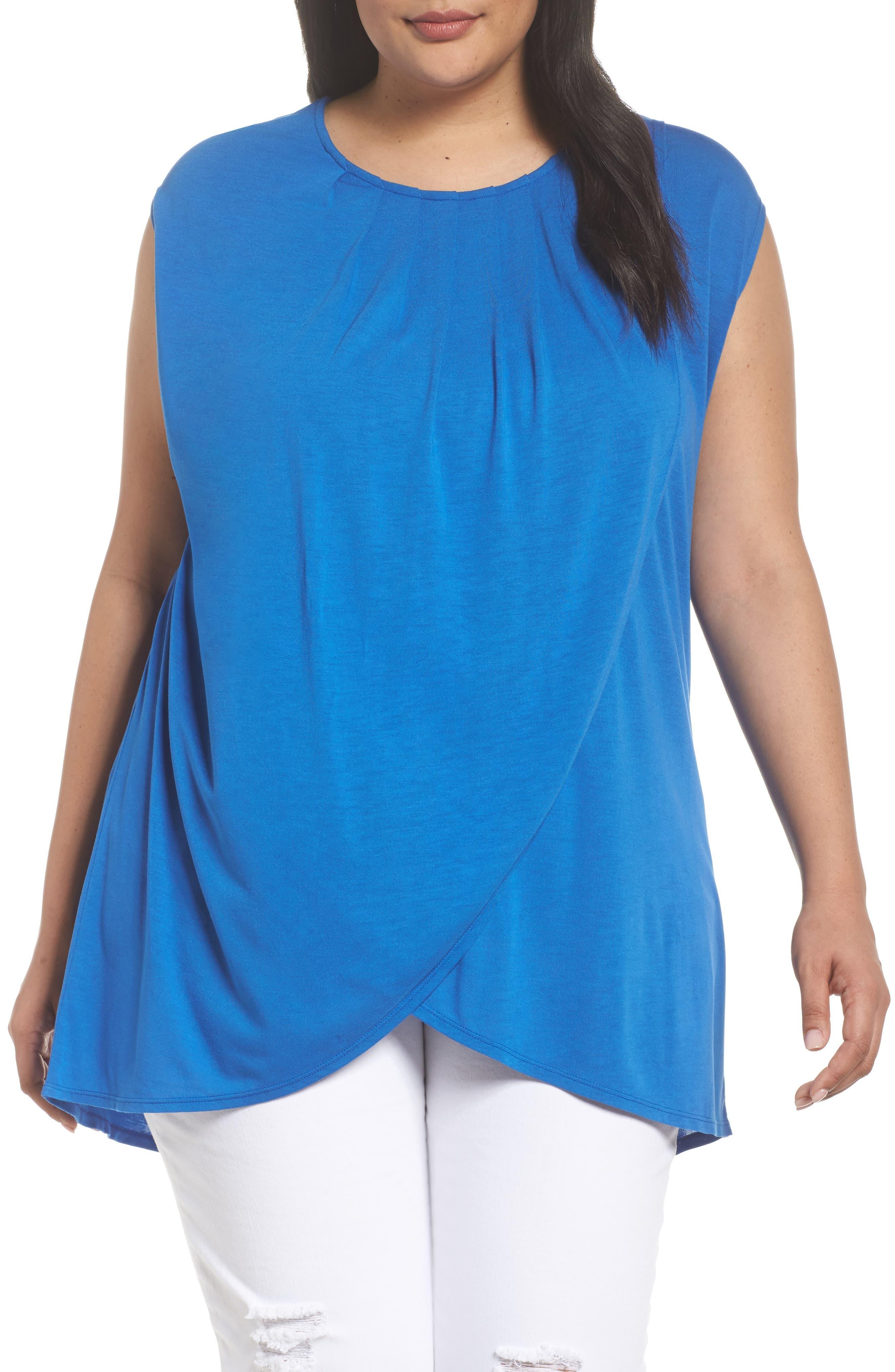 Pleated Cap Sleeve Tee,                         Main,                         color, Blue Nautical