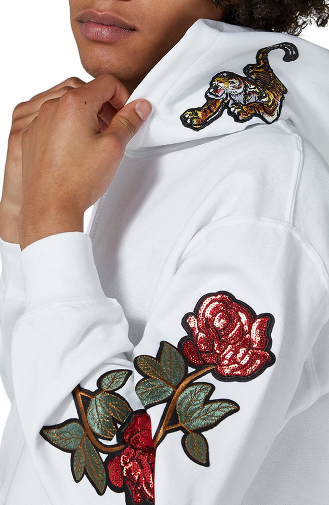 Embroidered Appliqué Hoodie,                             Alternate thumbnail 3, color,                             White Multi