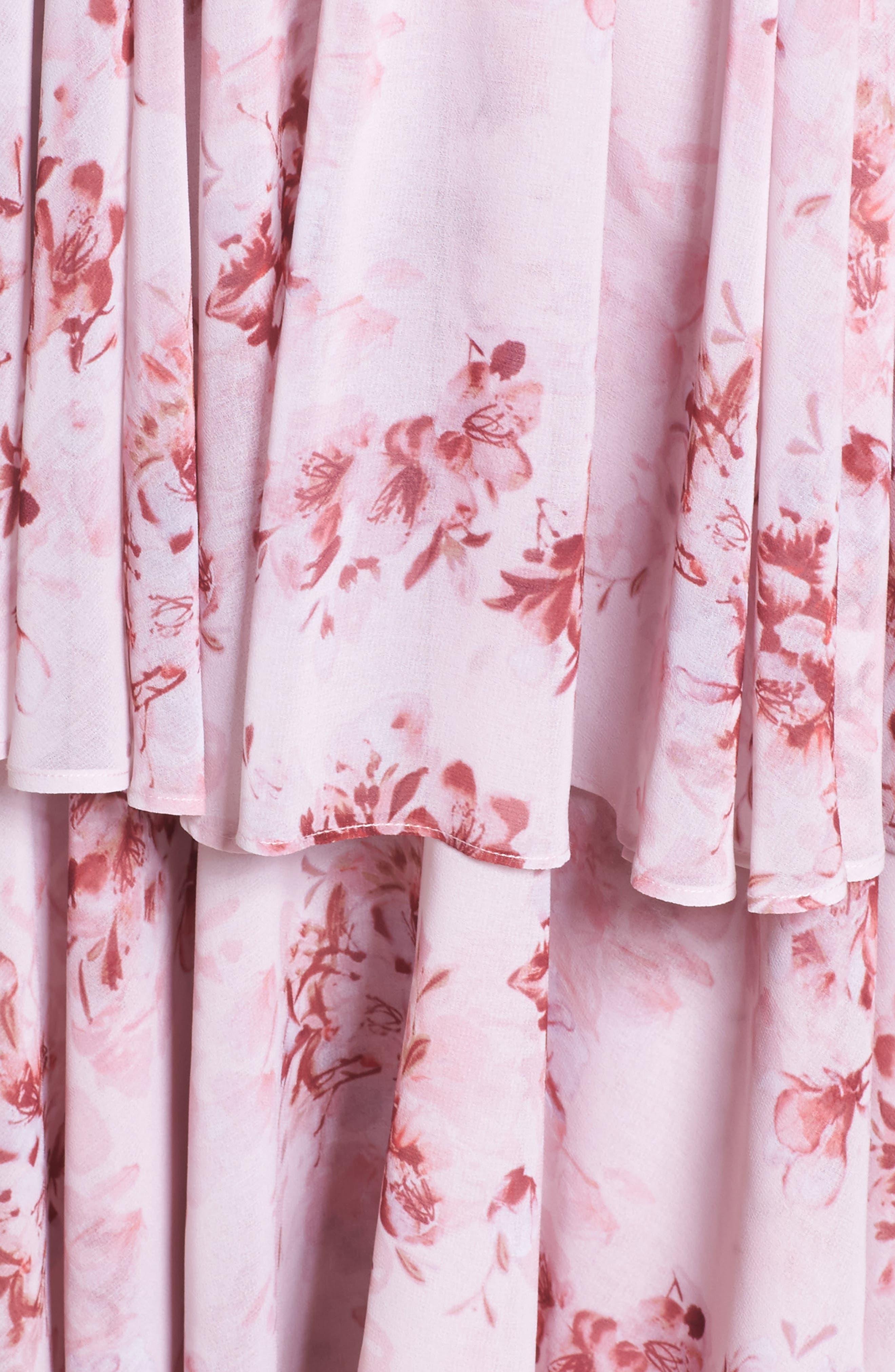 Edy Floral Georgette Dress,                             Alternate thumbnail 5, color,                             Delaney Print