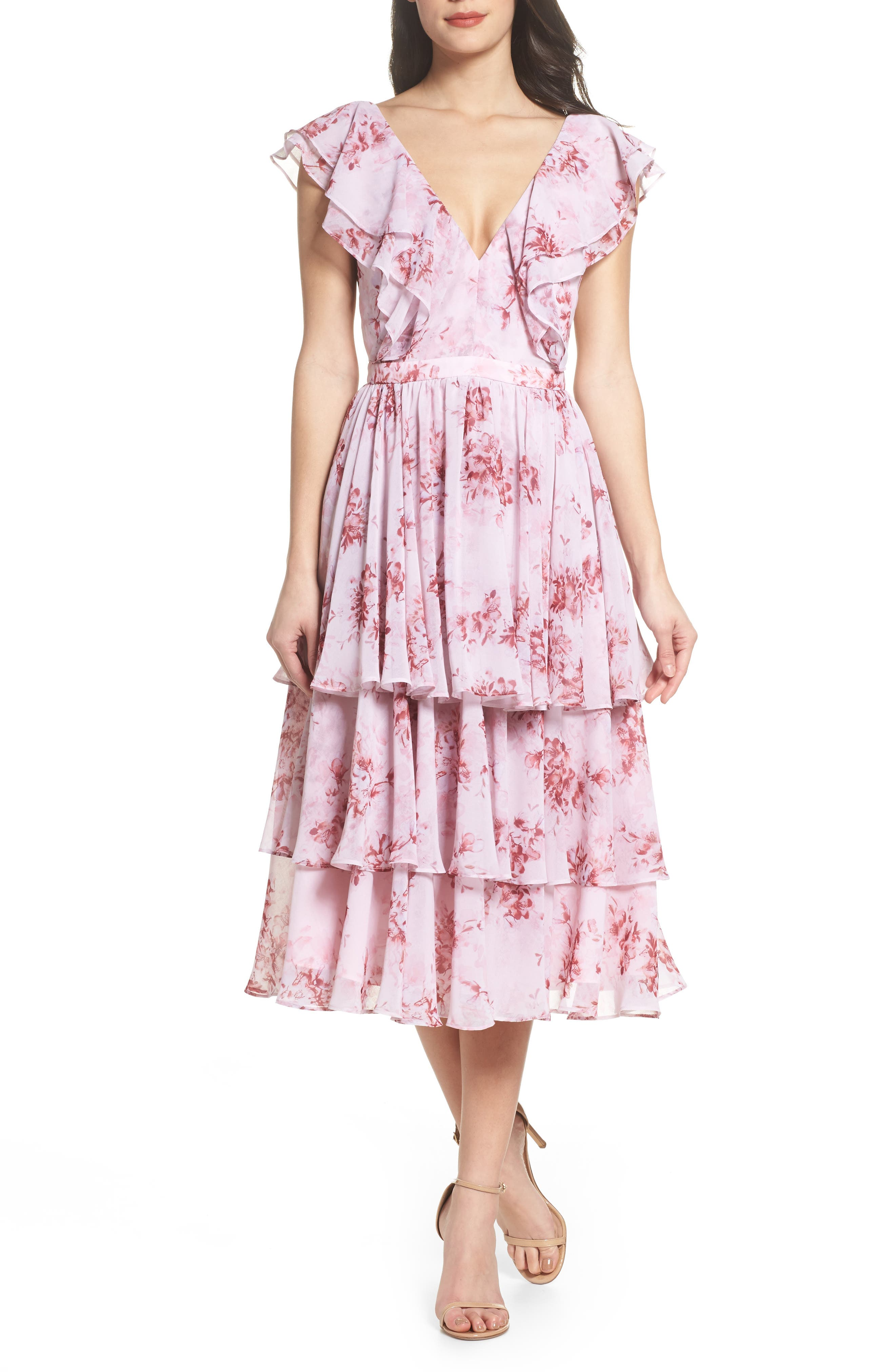 Edy Floral Georgette Dress,                             Main thumbnail 1, color,                             Delaney Print