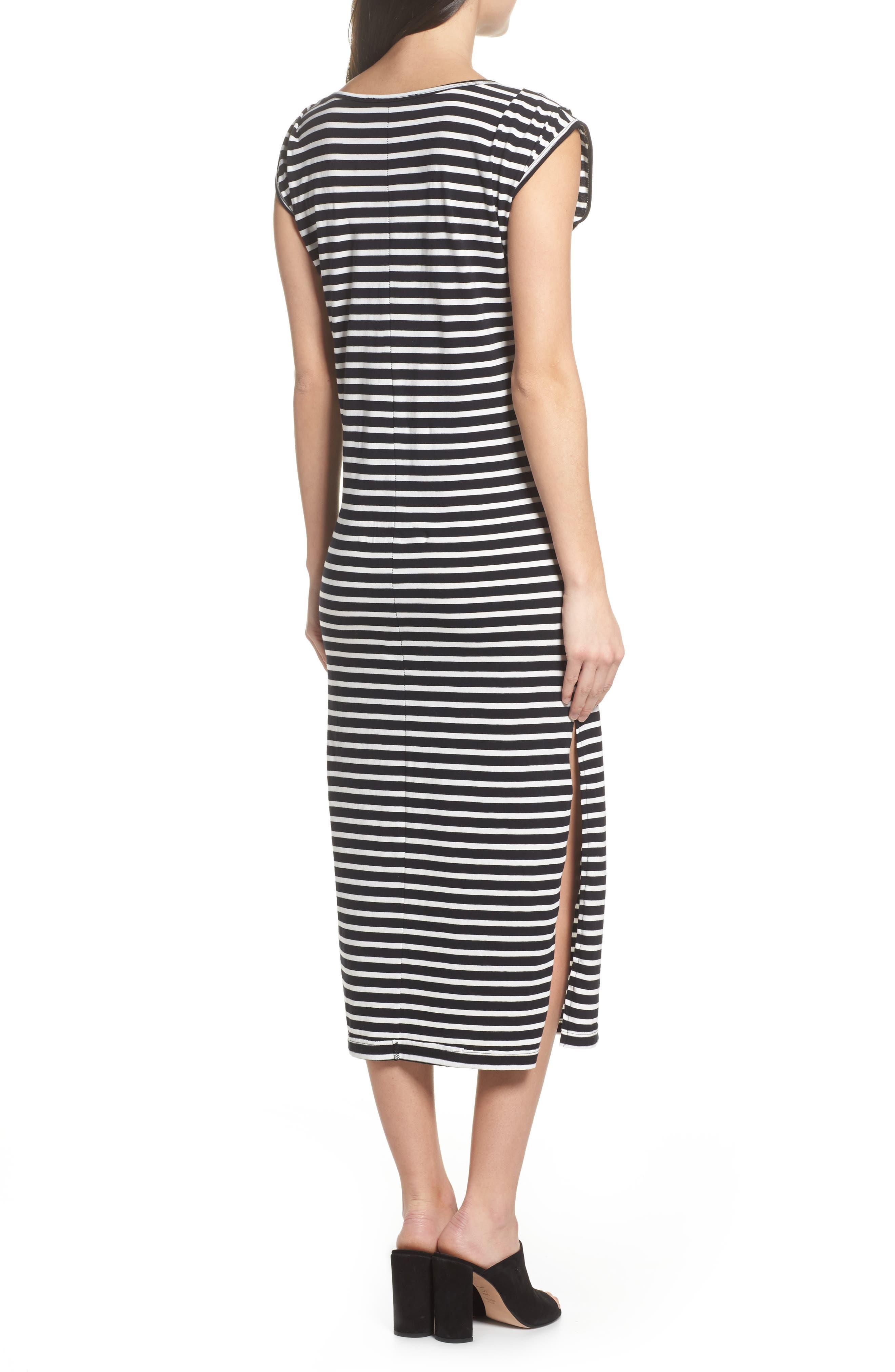 Solana Stripe Knit Midi Dress,                             Alternate thumbnail 2, color,                             Black White Stripe