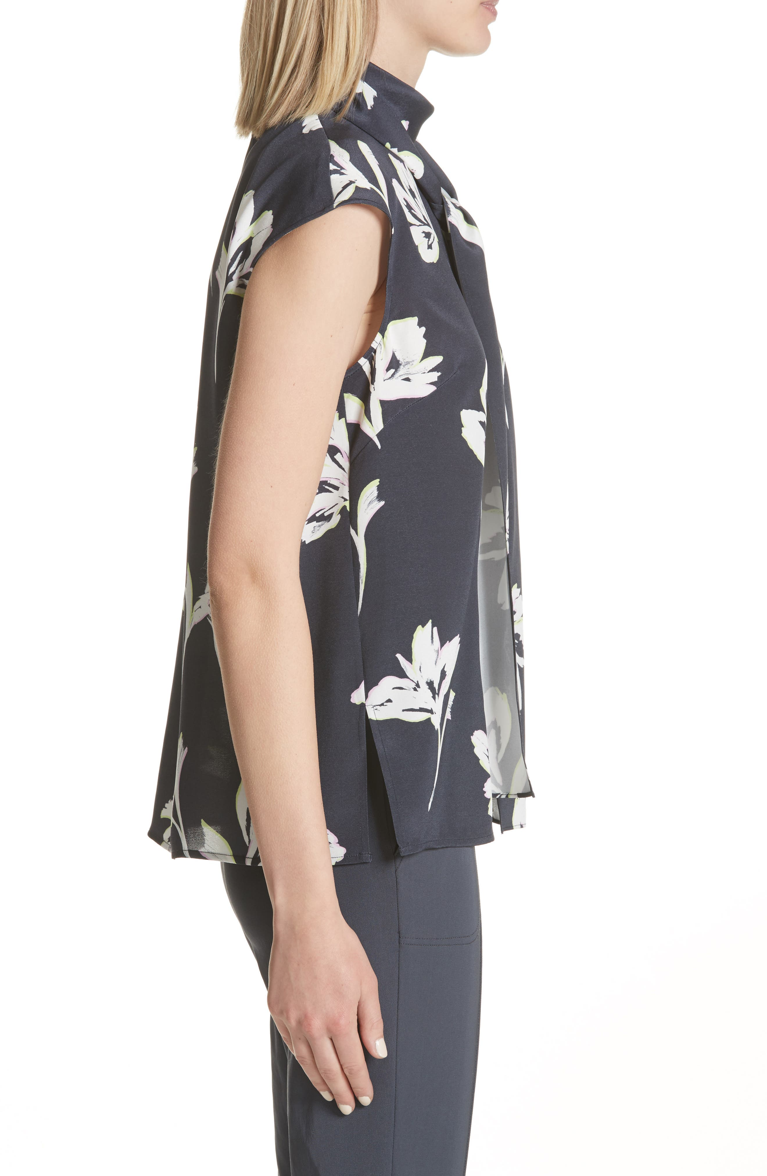 Falling Flower Print Stretch Silk Top,                             Alternate thumbnail 6, color,                             Anthracite Multi