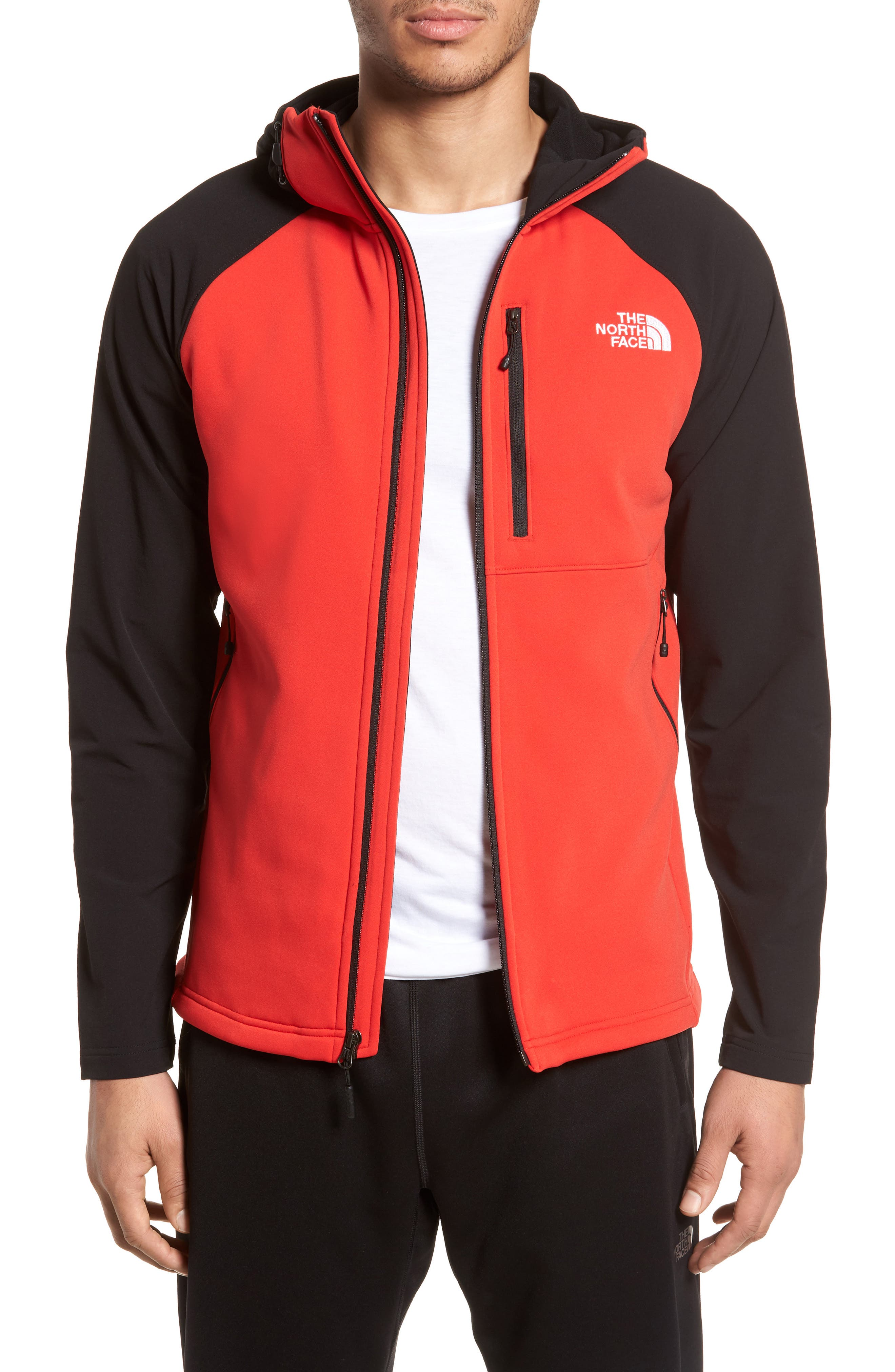 Tenacious Water Repellent Hybrid Jacket,                         Main,                         color, High Risk Red/ Tnf Black