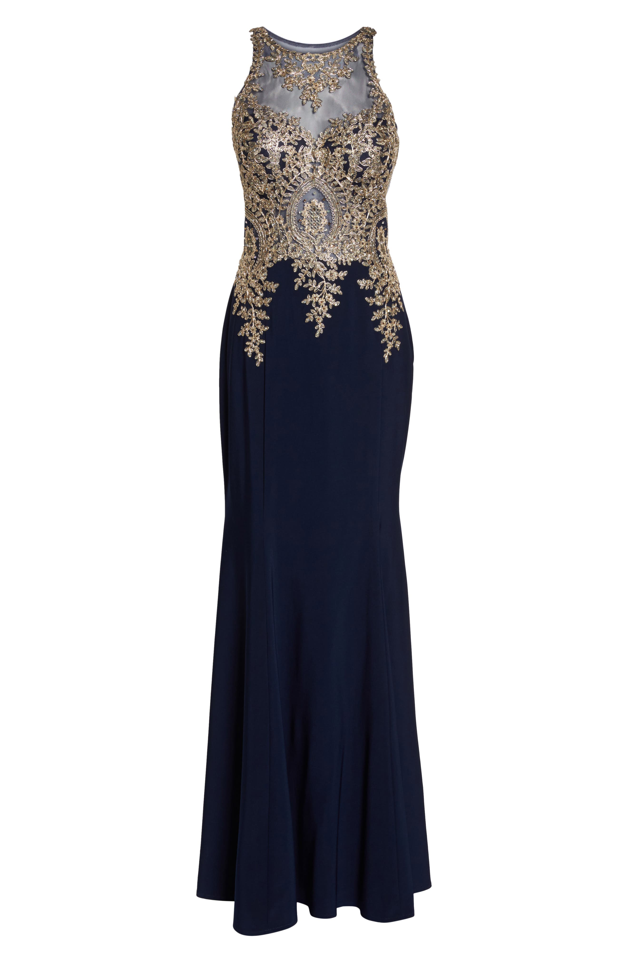 Embellished Mermaid Gown,                             Alternate thumbnail 6, color,                             Navy/ Gold