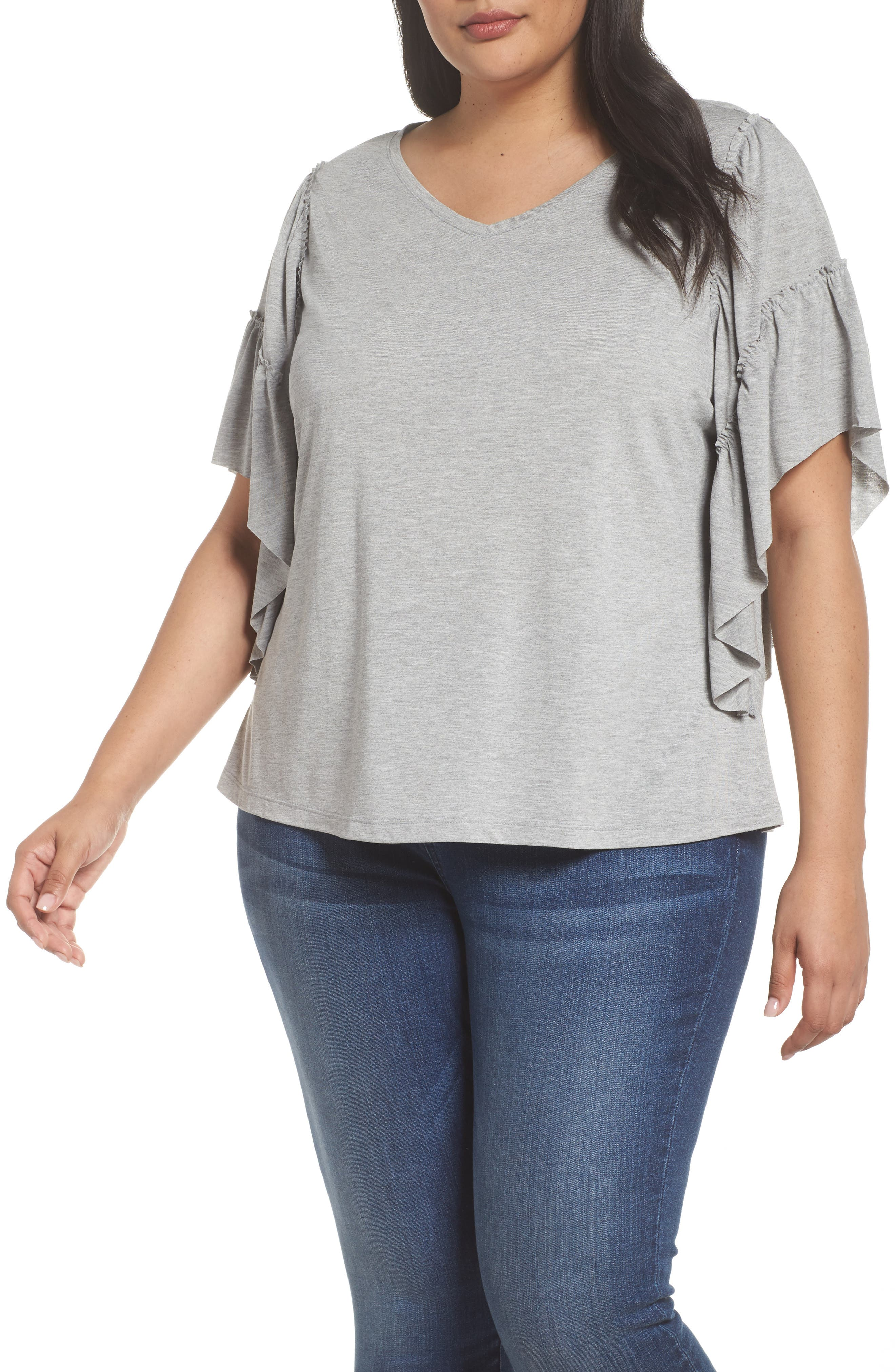 Main Image - Sejour Frill Sleeve Tee (Plus Size)
