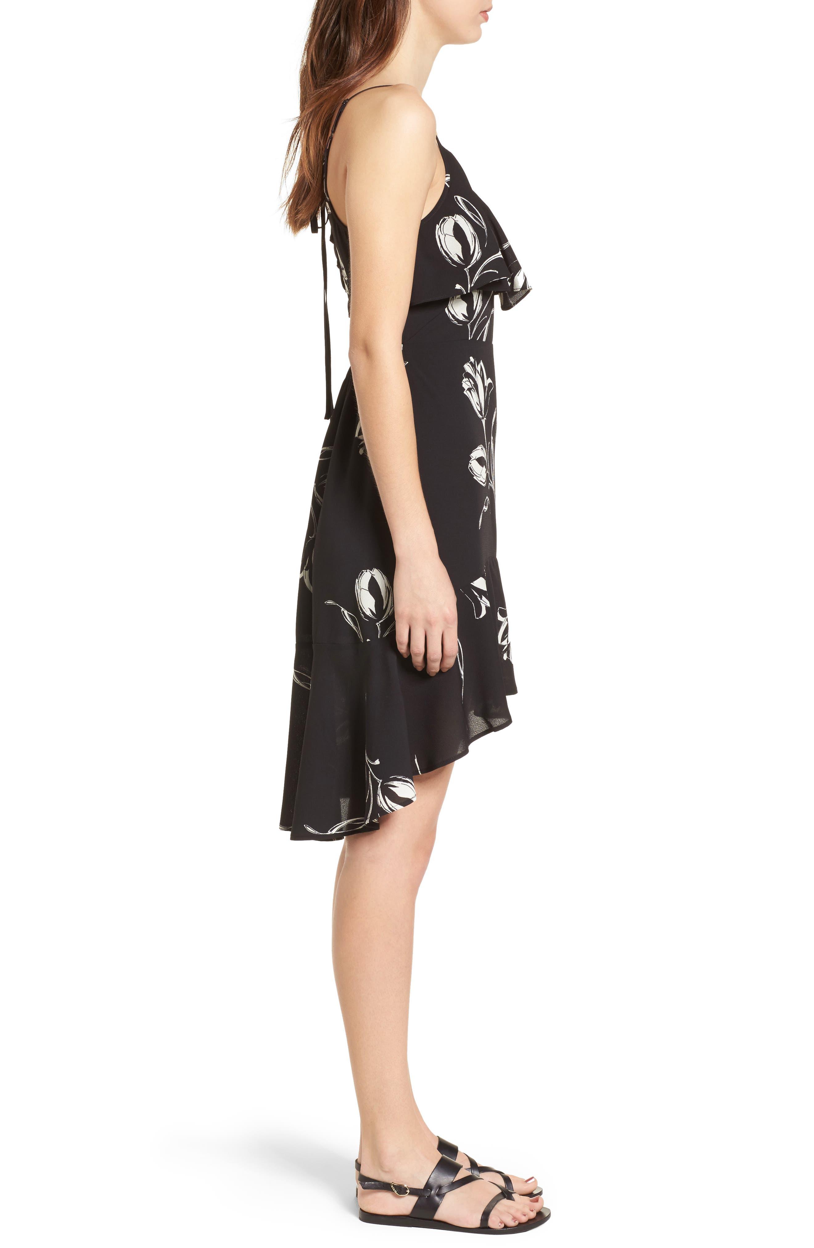 Ruffle Trim Tulip Print Dress,                             Alternate thumbnail 3, color,                             Black/ Ivory