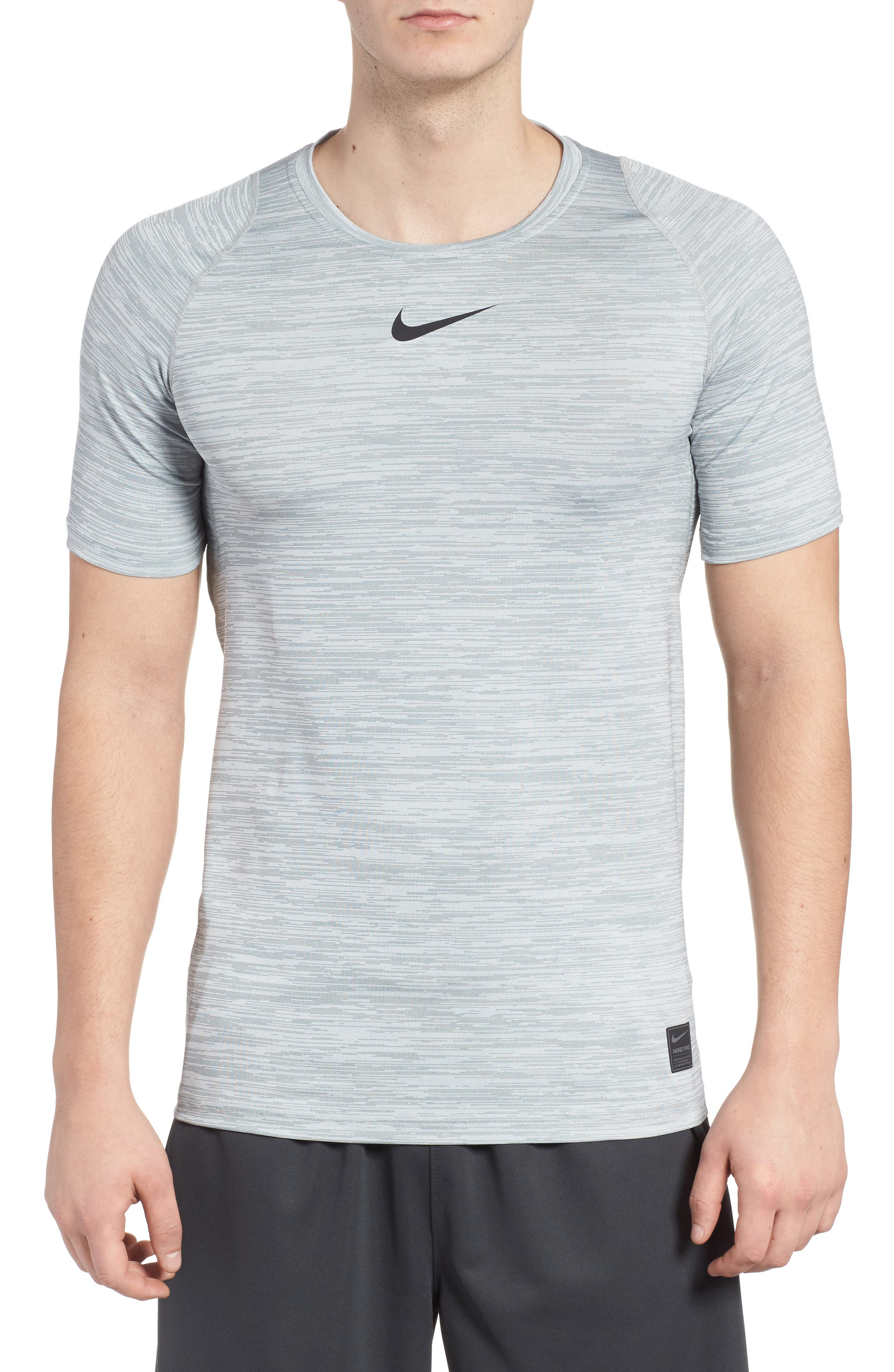 Training Top Crewneck T-Shirt,                         Main,                         color, Cool Grey/ White/ Black