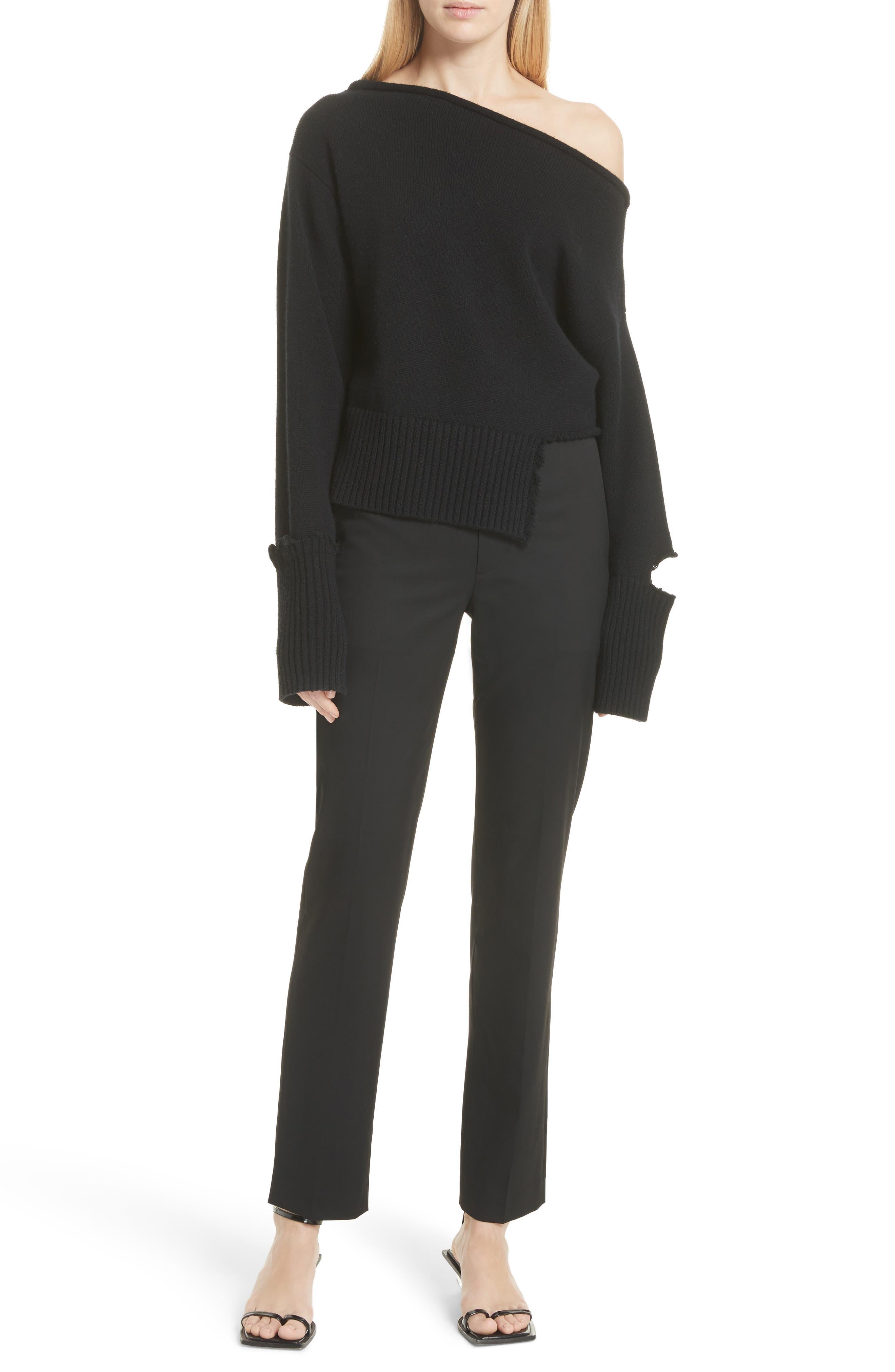 Straight Leg Wool Trousers,                             Alternate thumbnail 7, color,                             Black