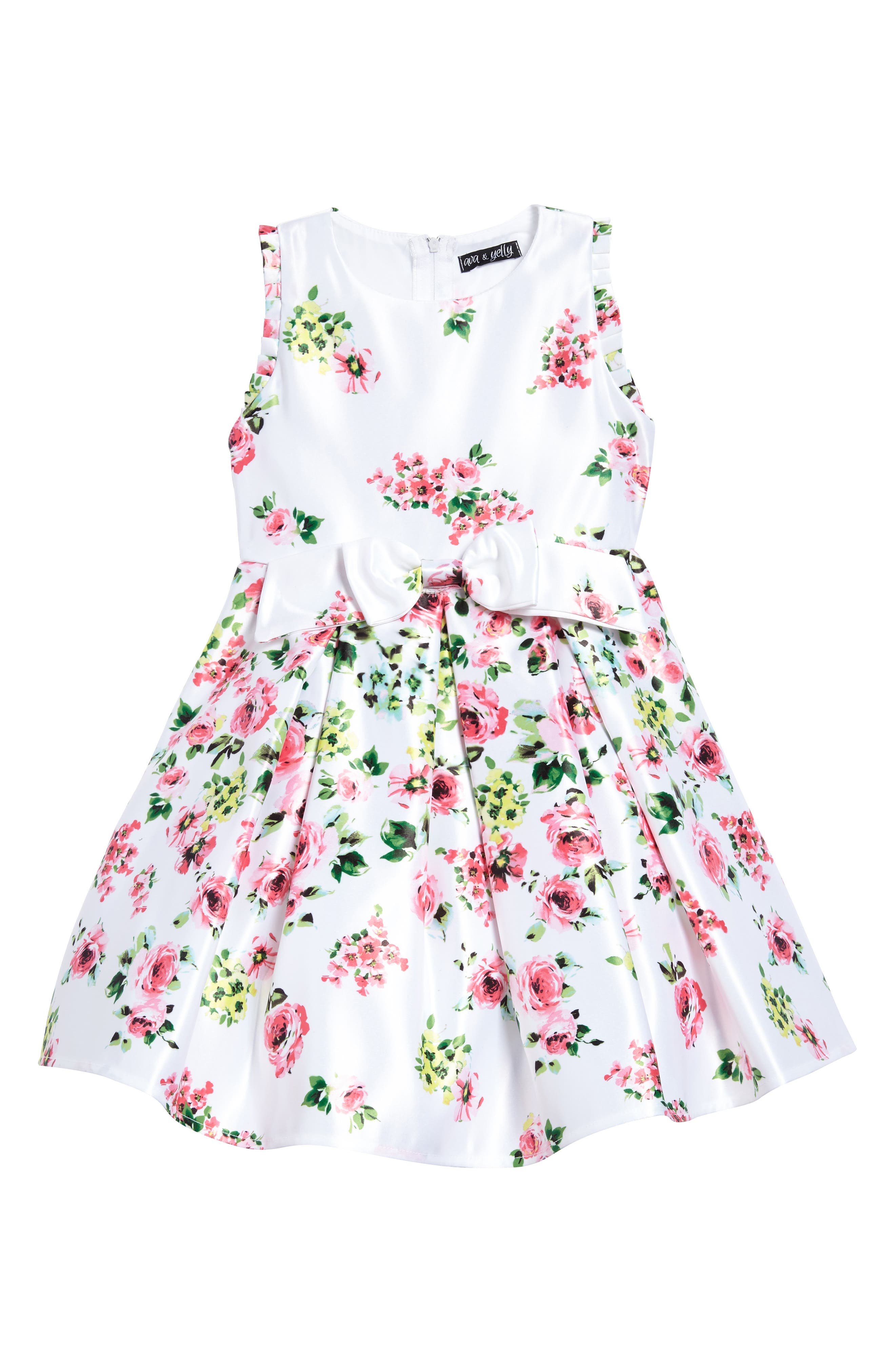 Floral Bow Front Dress,                         Main,                         color, White/ Pink