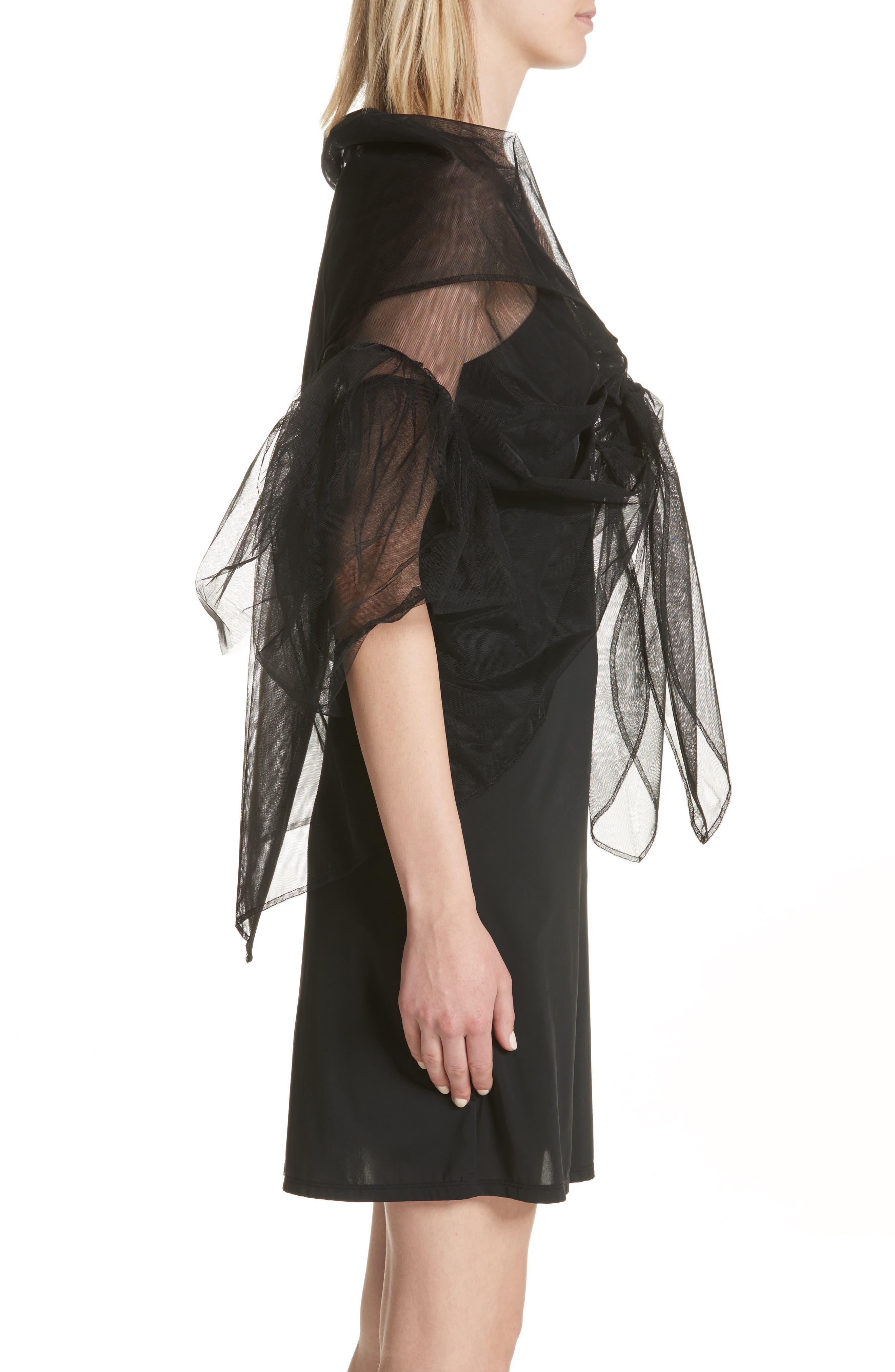 Alternate Image 3  - Simone Rocha Lace Trim Tulle Wrap with Sleeves