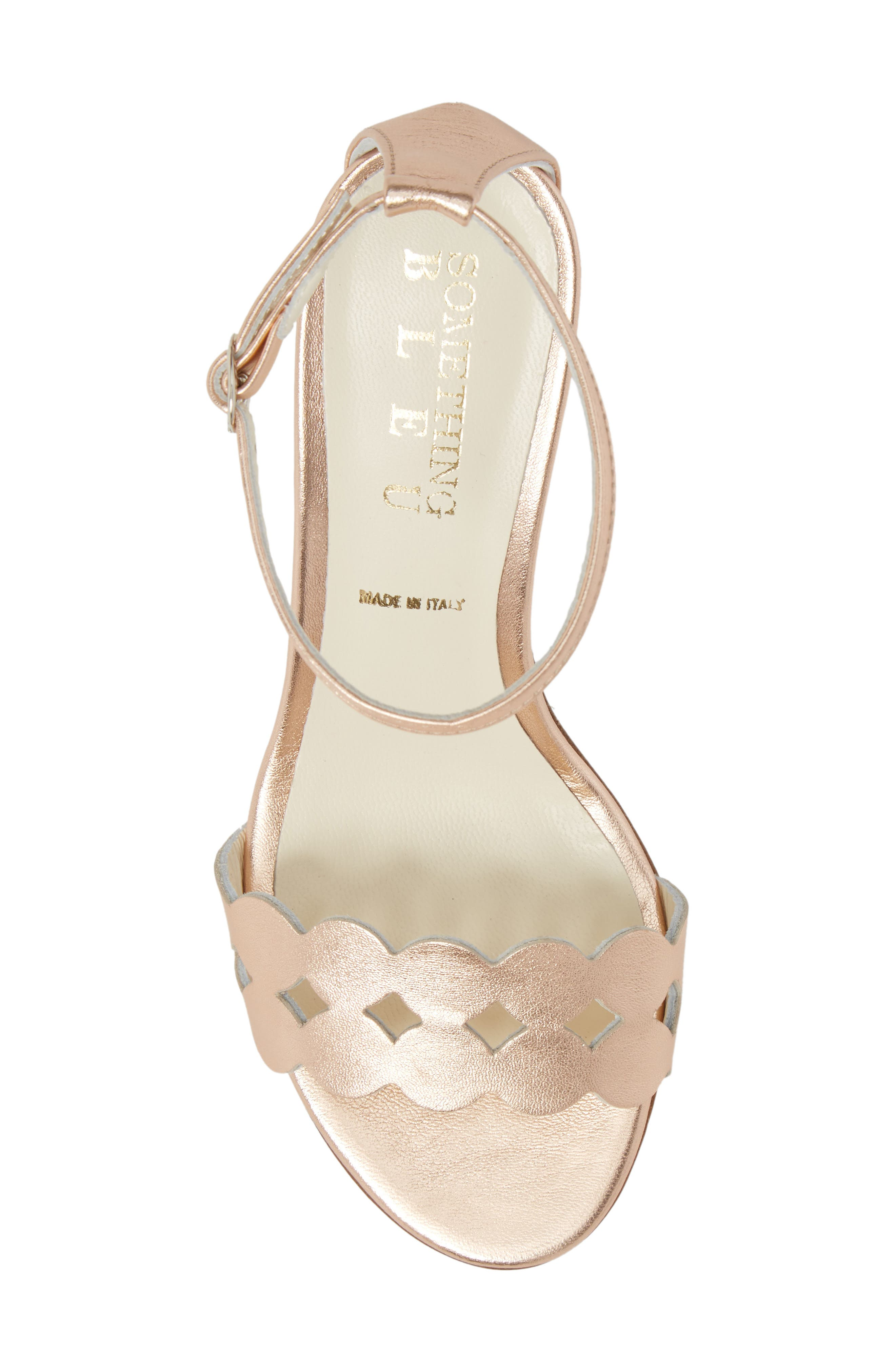 Gina Ankle Strap Sandal,                             Alternate thumbnail 5, color,                             Rose Gold Metallics