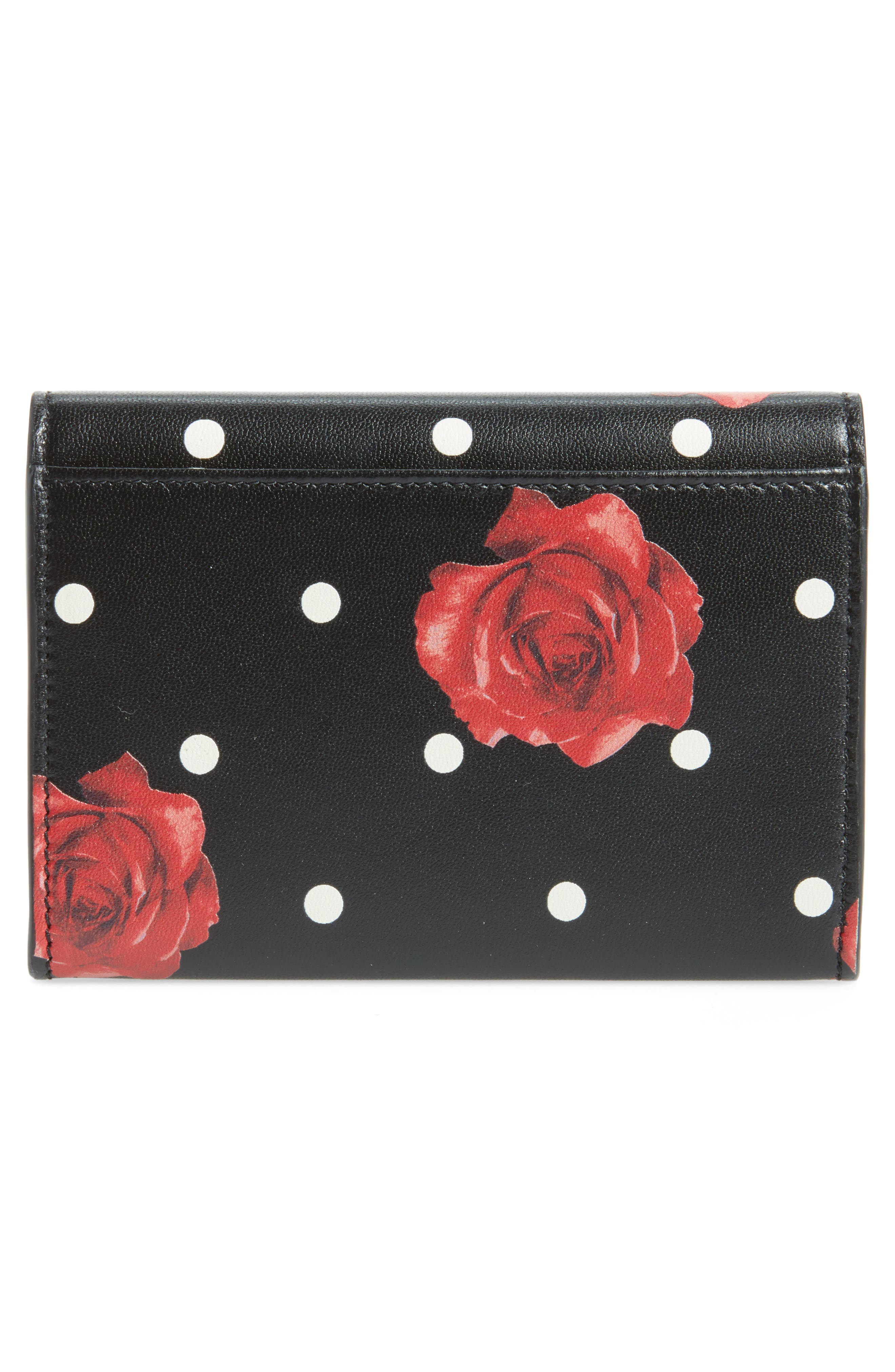 Rose & Polka Dot Small Leather French Wallet,                             Alternate thumbnail 4, color,                             Black/ Multi