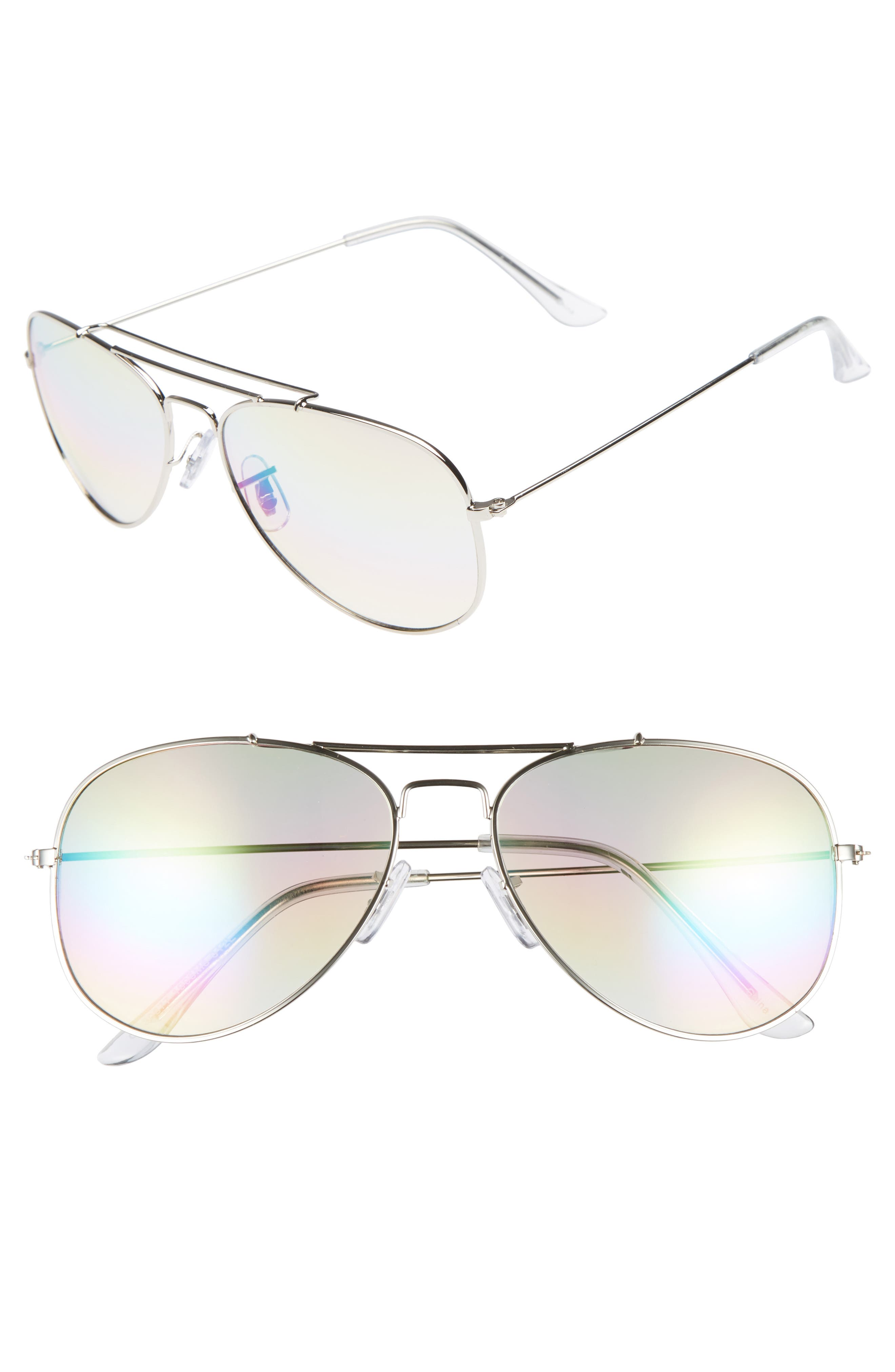 Rainbow Aviator Sunglasses,                             Main thumbnail 1, color,                             Silver/ Multi
