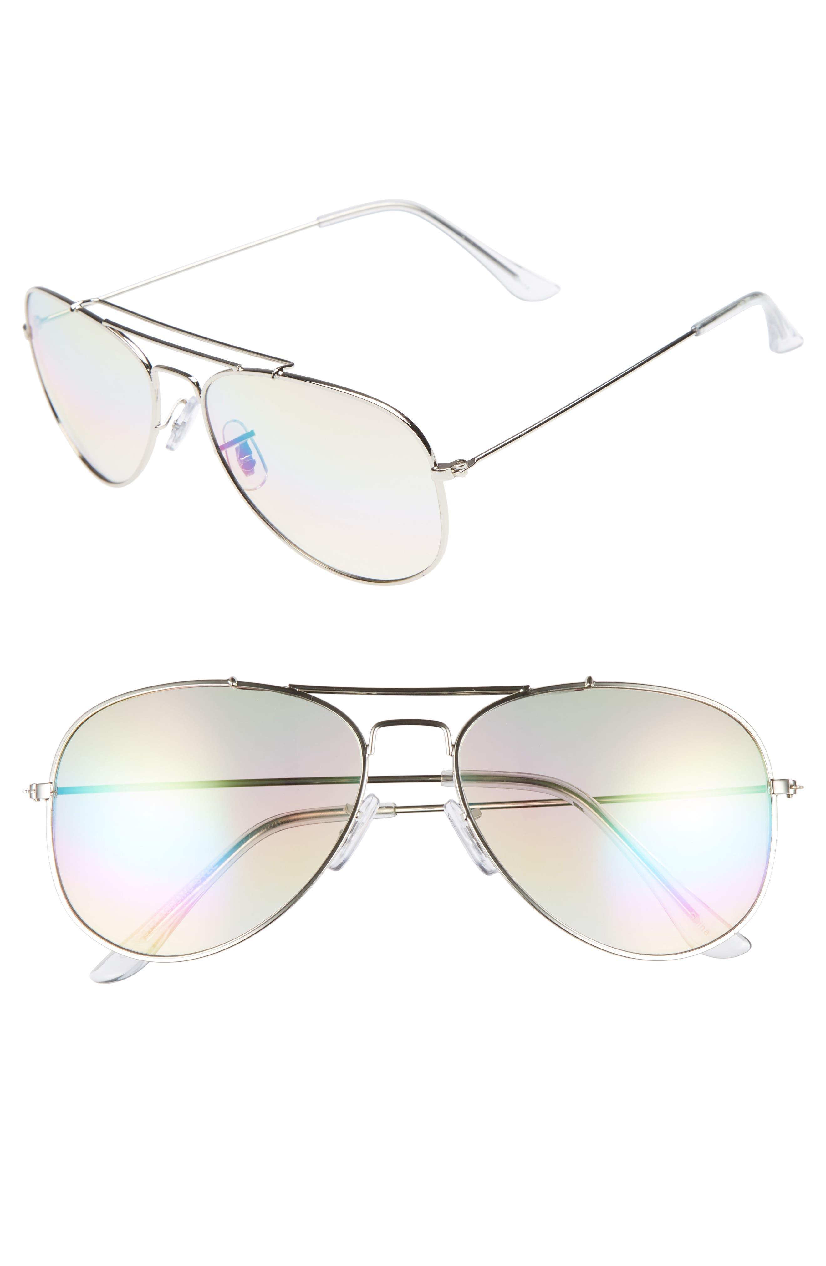 Rainbow Aviator Sunglasses,                         Main,                         color, Silver/ Multi