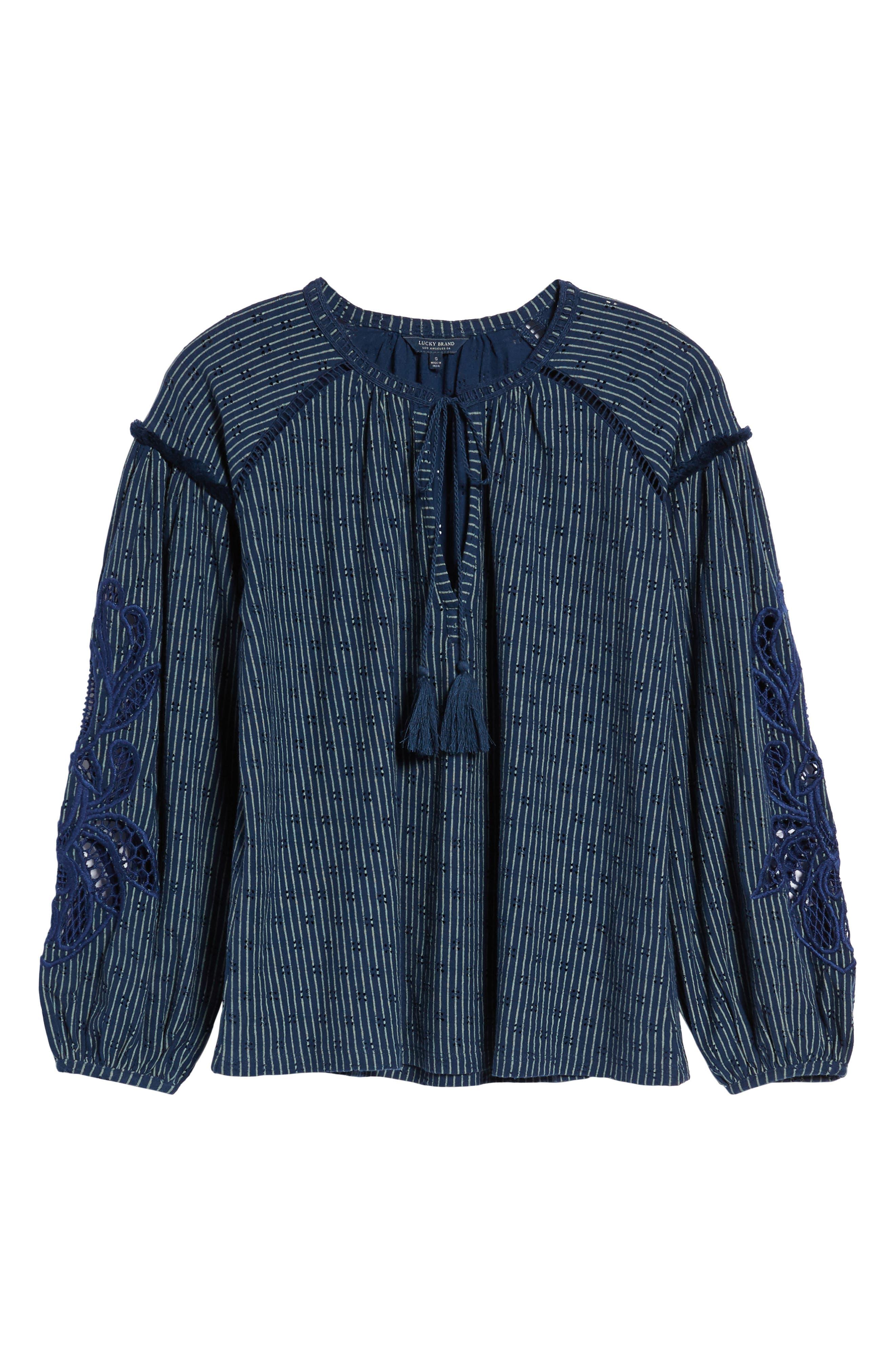 Stripe Peasant Top,                             Alternate thumbnail 6, color,                             Blue Multi