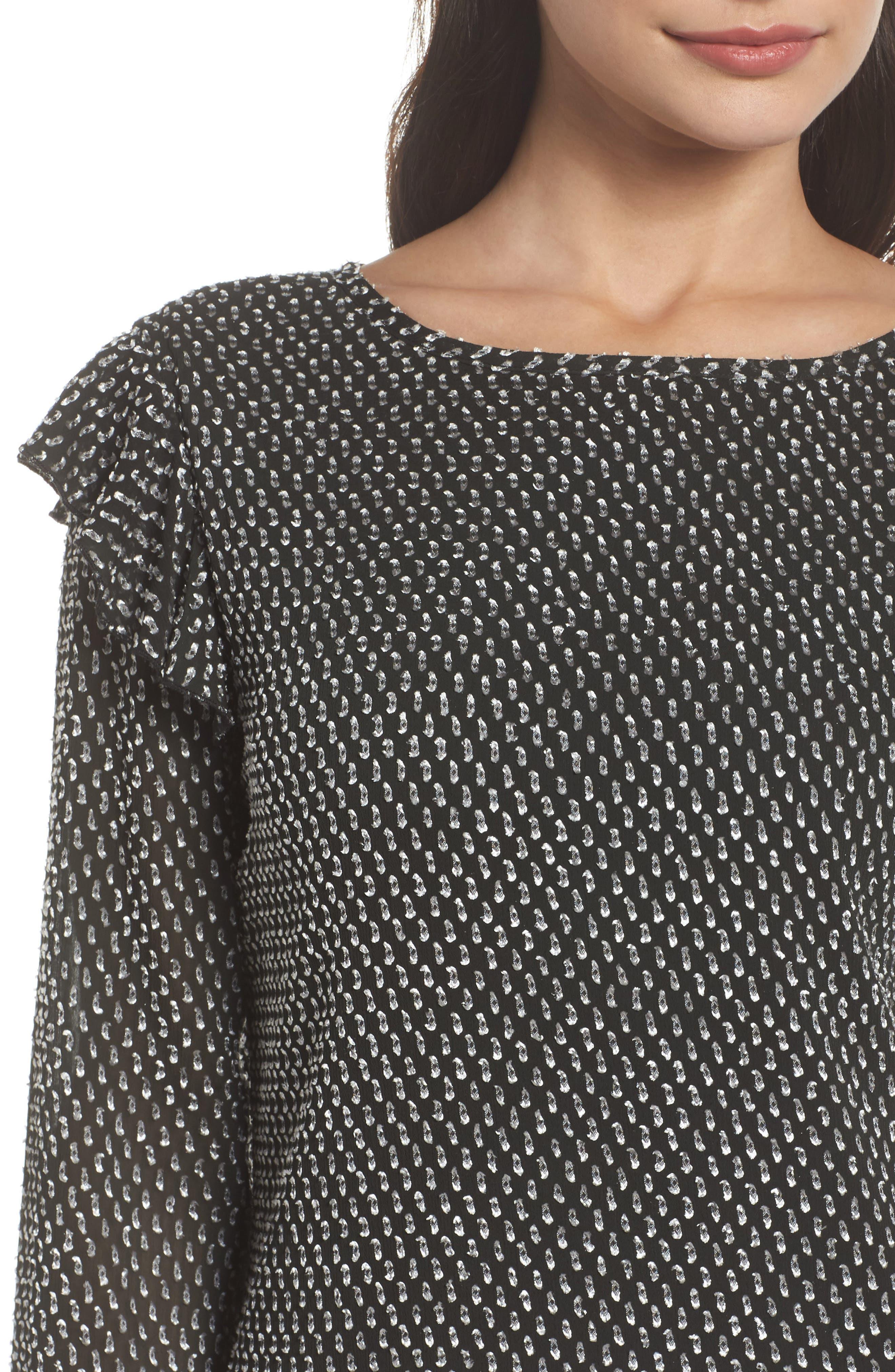 Resys at Felix Shift Dress,                             Alternate thumbnail 5, color,                             Black/ White Dot