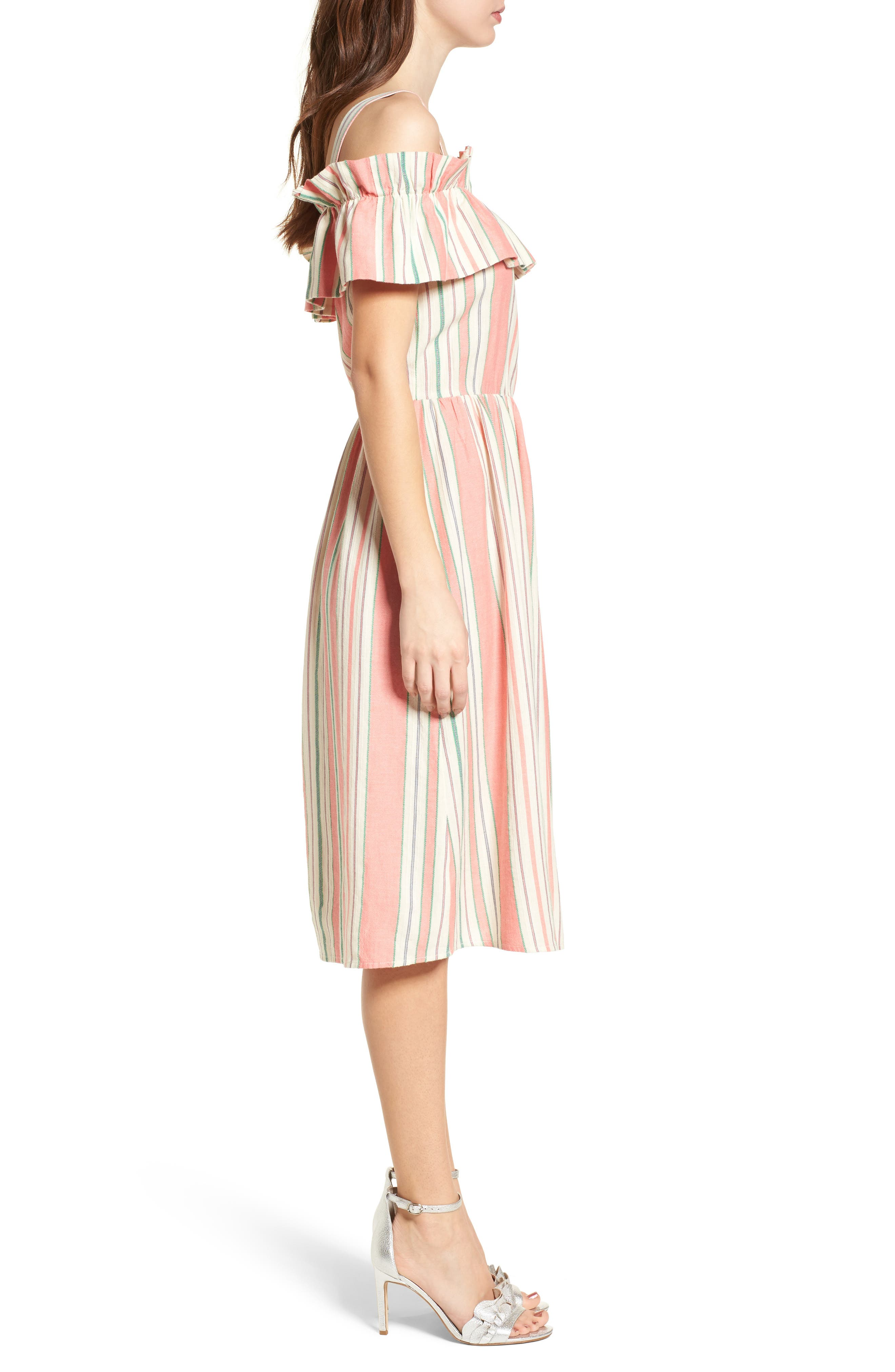 Stripe Ruffle Cold Shoulder Dress,                             Alternate thumbnail 3, color,                             Coral Amber Bold Stripe