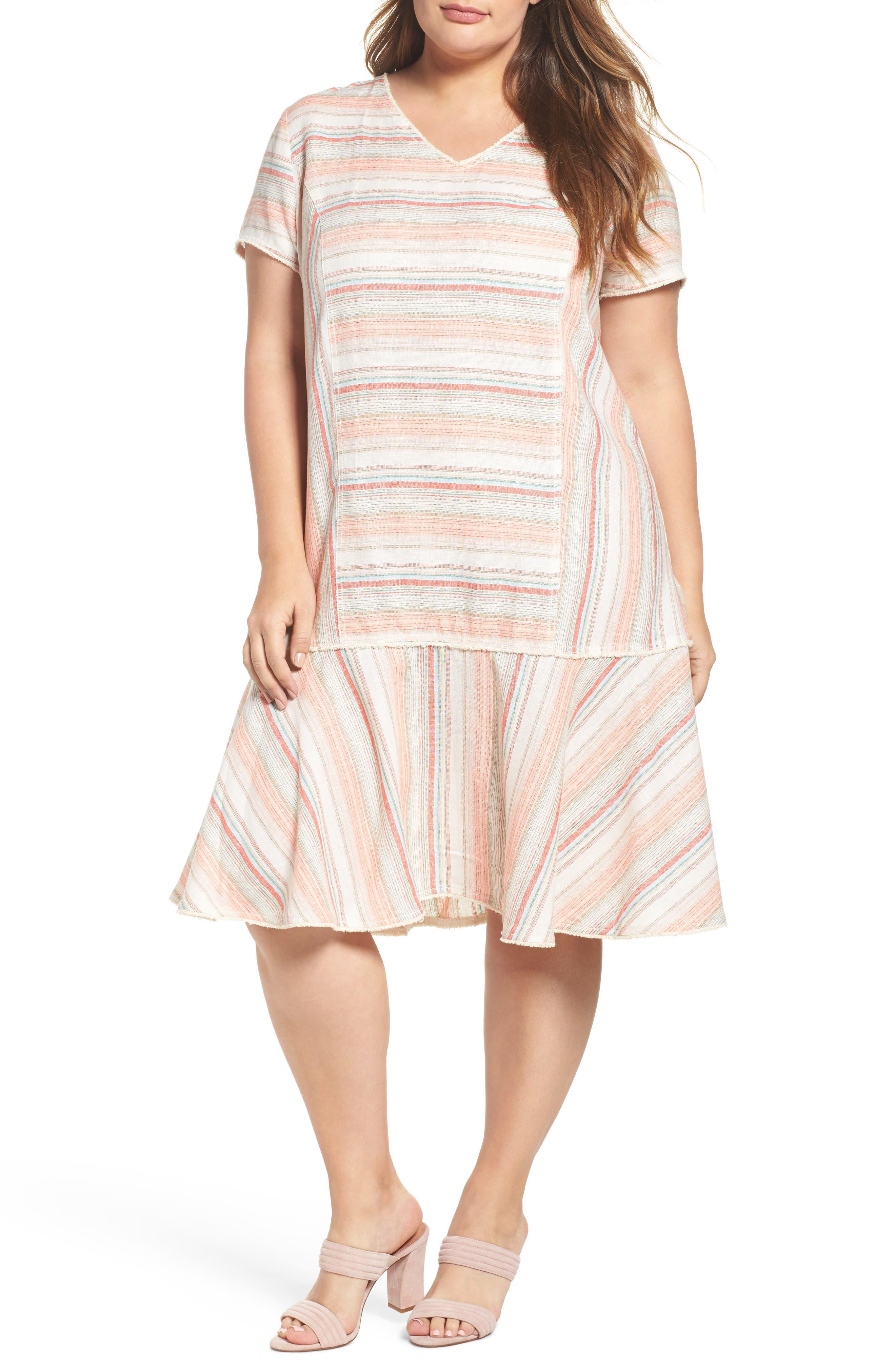 Raw Edge Stripe Linen Blend Dress,                         Main,                         color, Coral Stripe