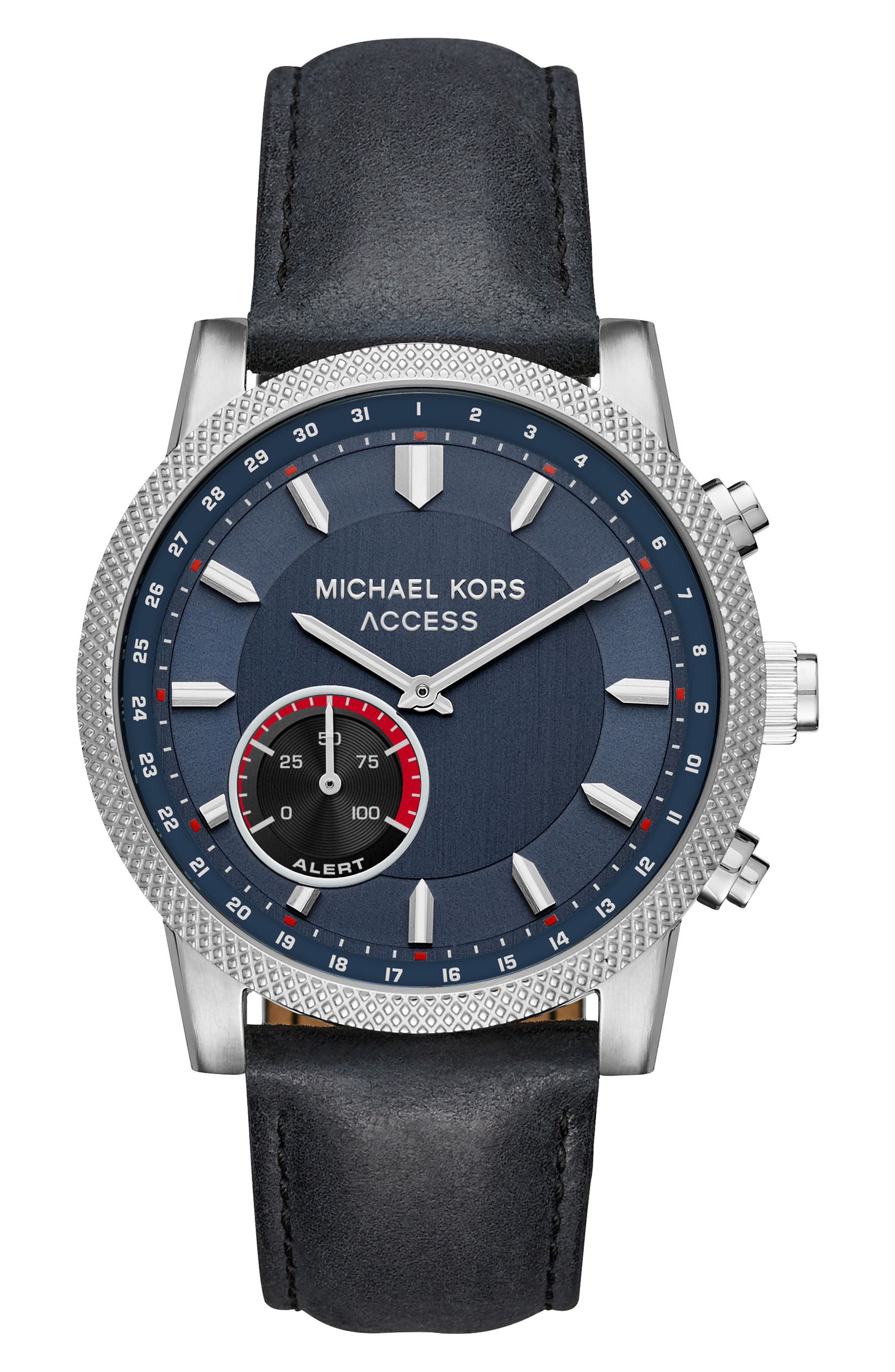 Alternate Image 1 Selected - Michael Kors Access Scout Hybrid Leather Strap Smart Watch, 43mm