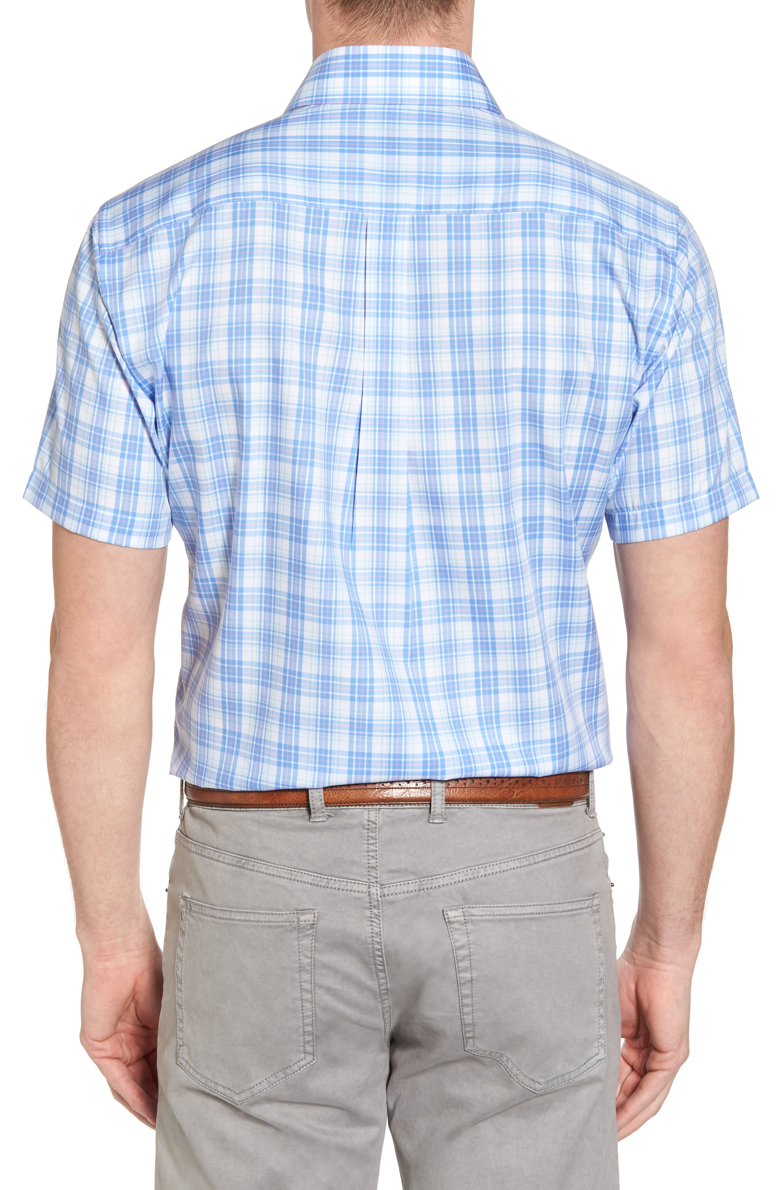 Crown Ease Sloan Regular Fit Plaid Sport Shirt,                             Alternate thumbnail 2, color,                             Atlas Blue