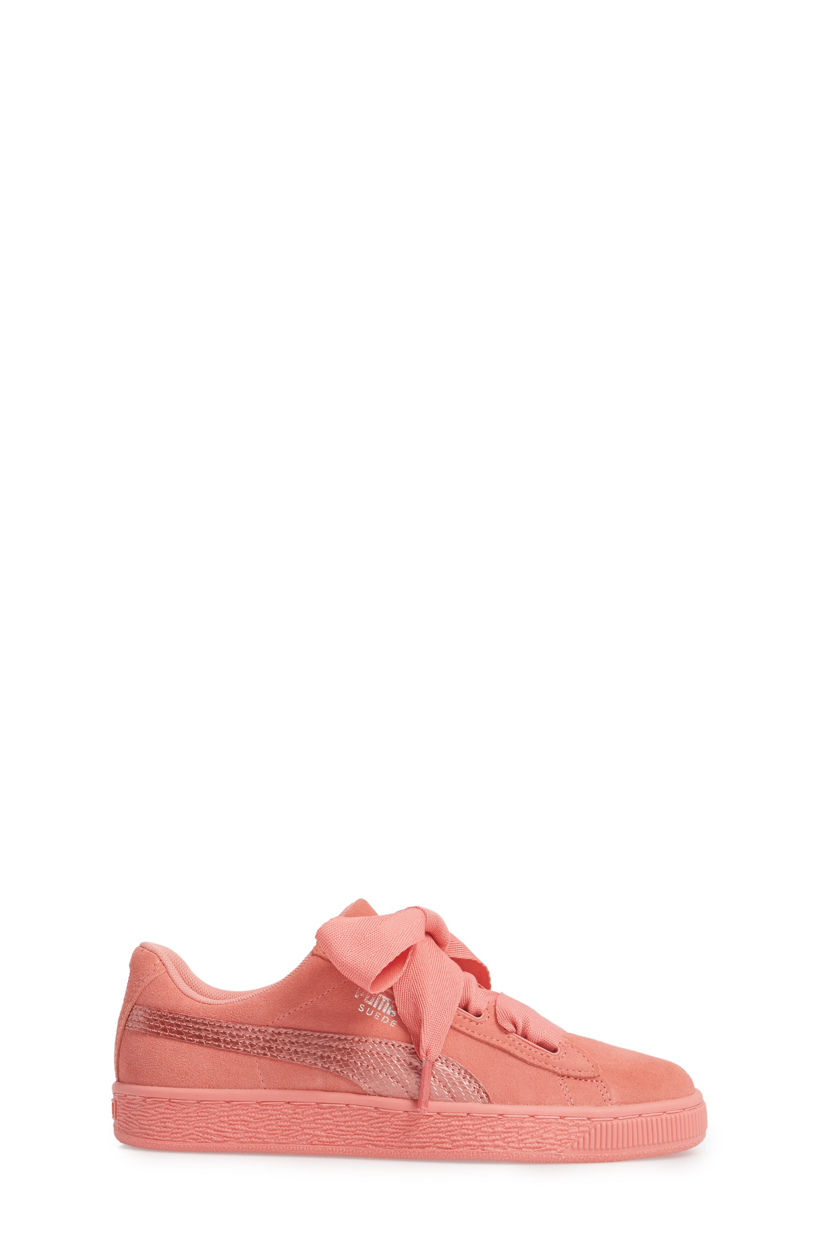 Suede Heart Sneaker,                             Alternate thumbnail 3, color,                             Shell Pink/ Shell Pink