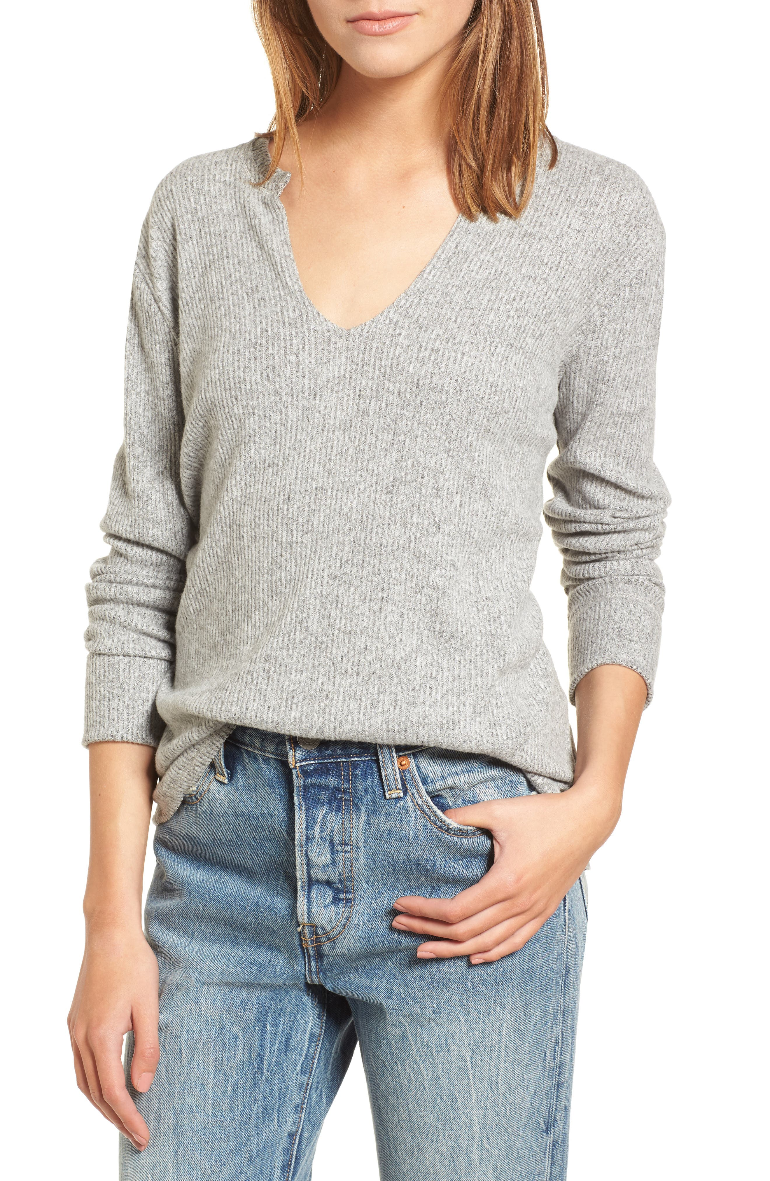 Ribbed Split Neck Sweater,                         Main,                         color, Grey
