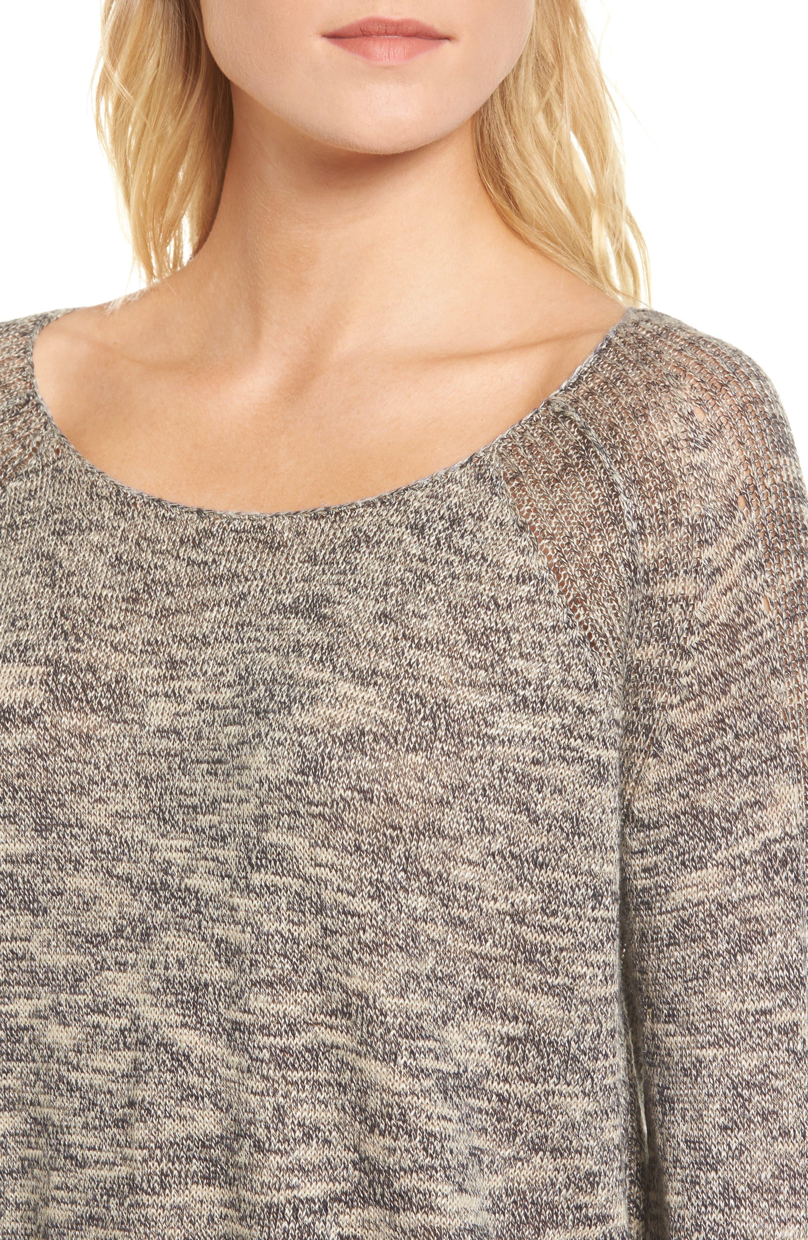 Flora Sweater,                             Alternate thumbnail 4, color,                             Speckled Navy/ Beige