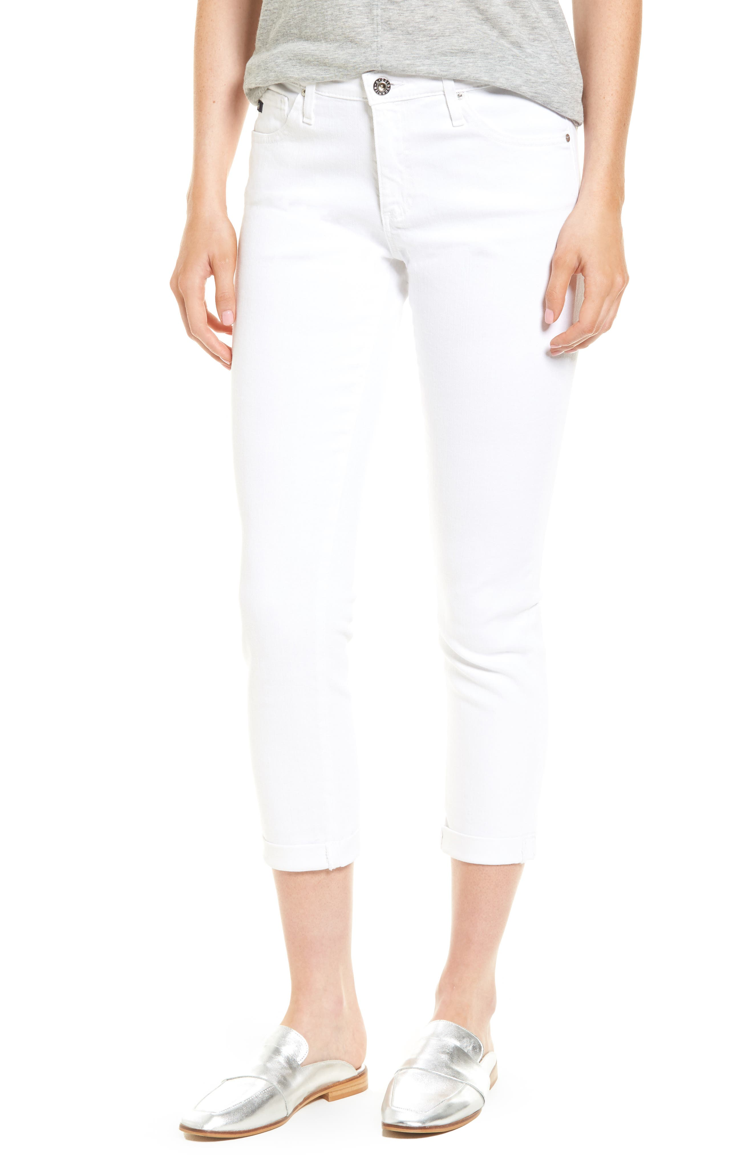 Skinny white cropped jeans
