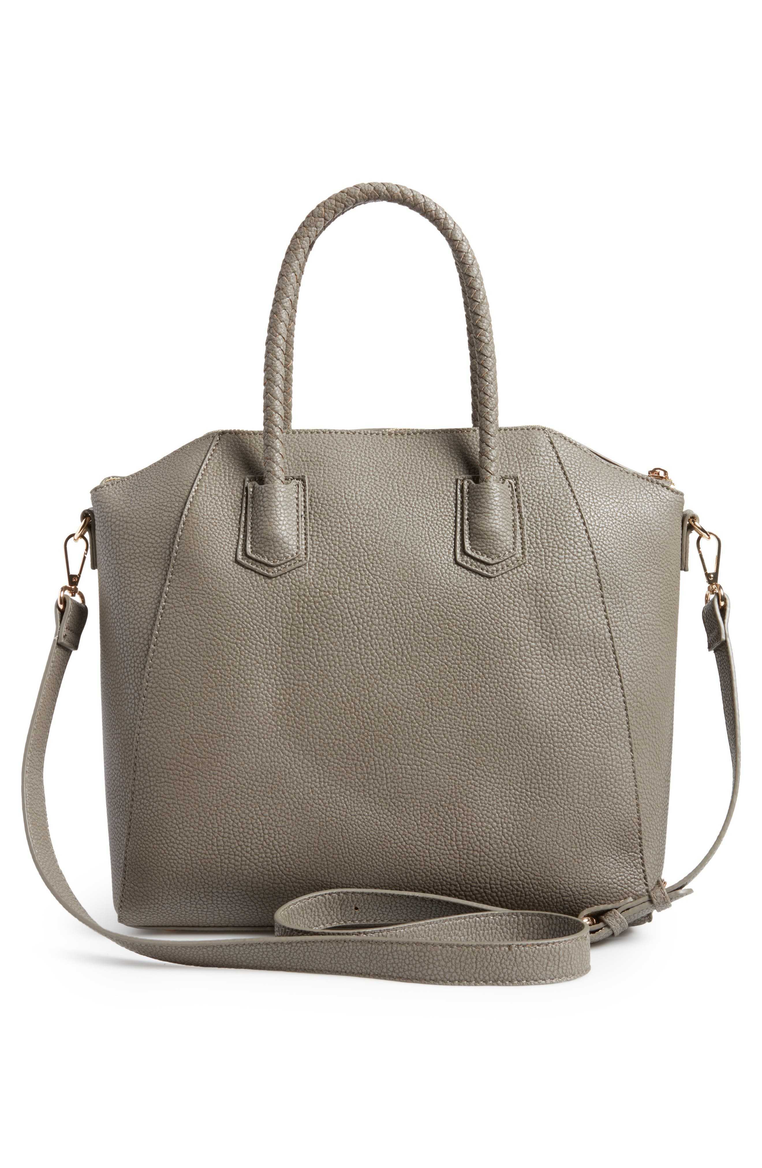 Giada Braided Faux Leather Satchel,                             Alternate thumbnail 3, color,                             Grey