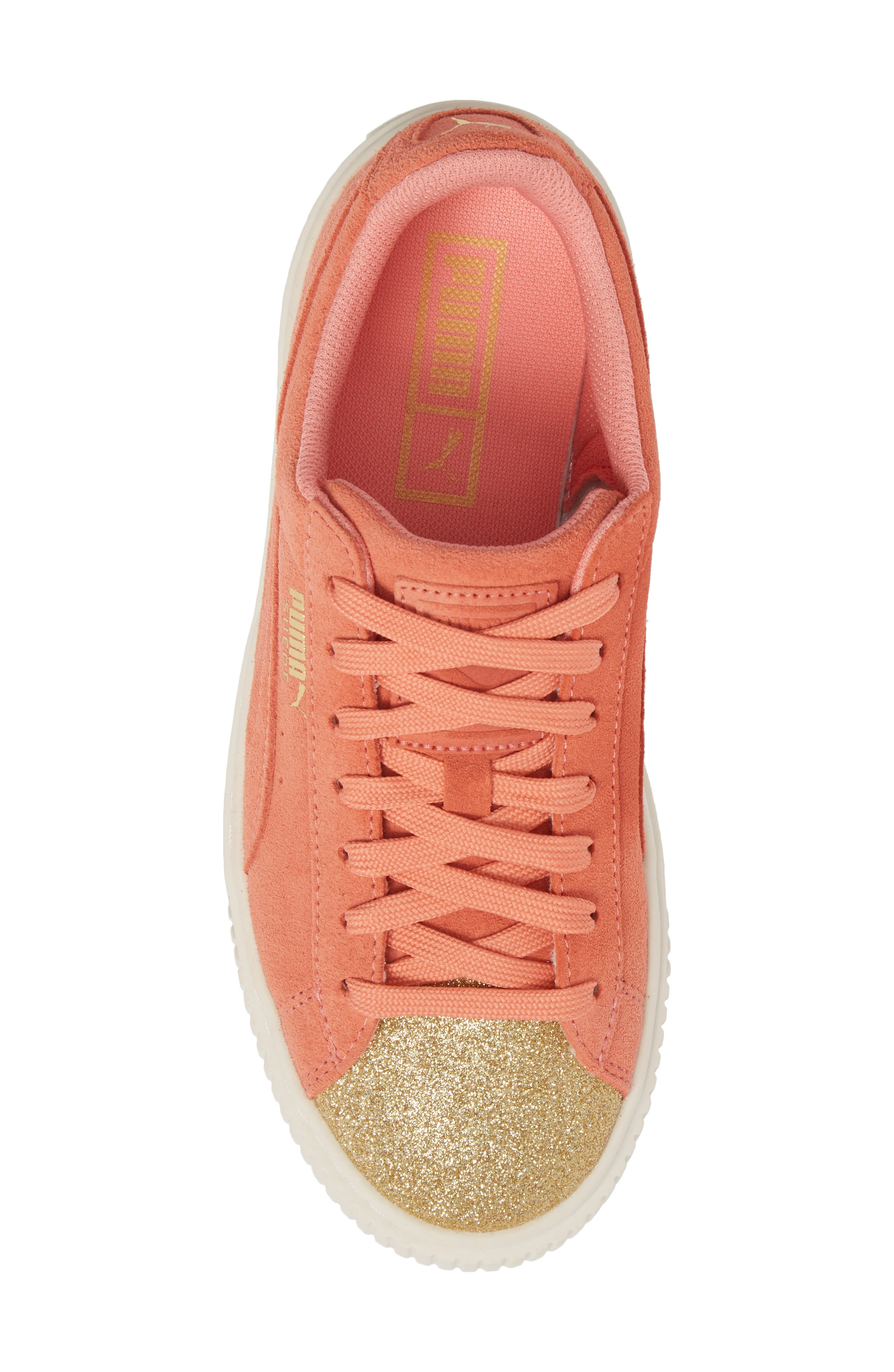 Suede Platform Glam PS Sneaker,                             Alternate thumbnail 5, color,                             Puma Team Gold/ Shell Pink