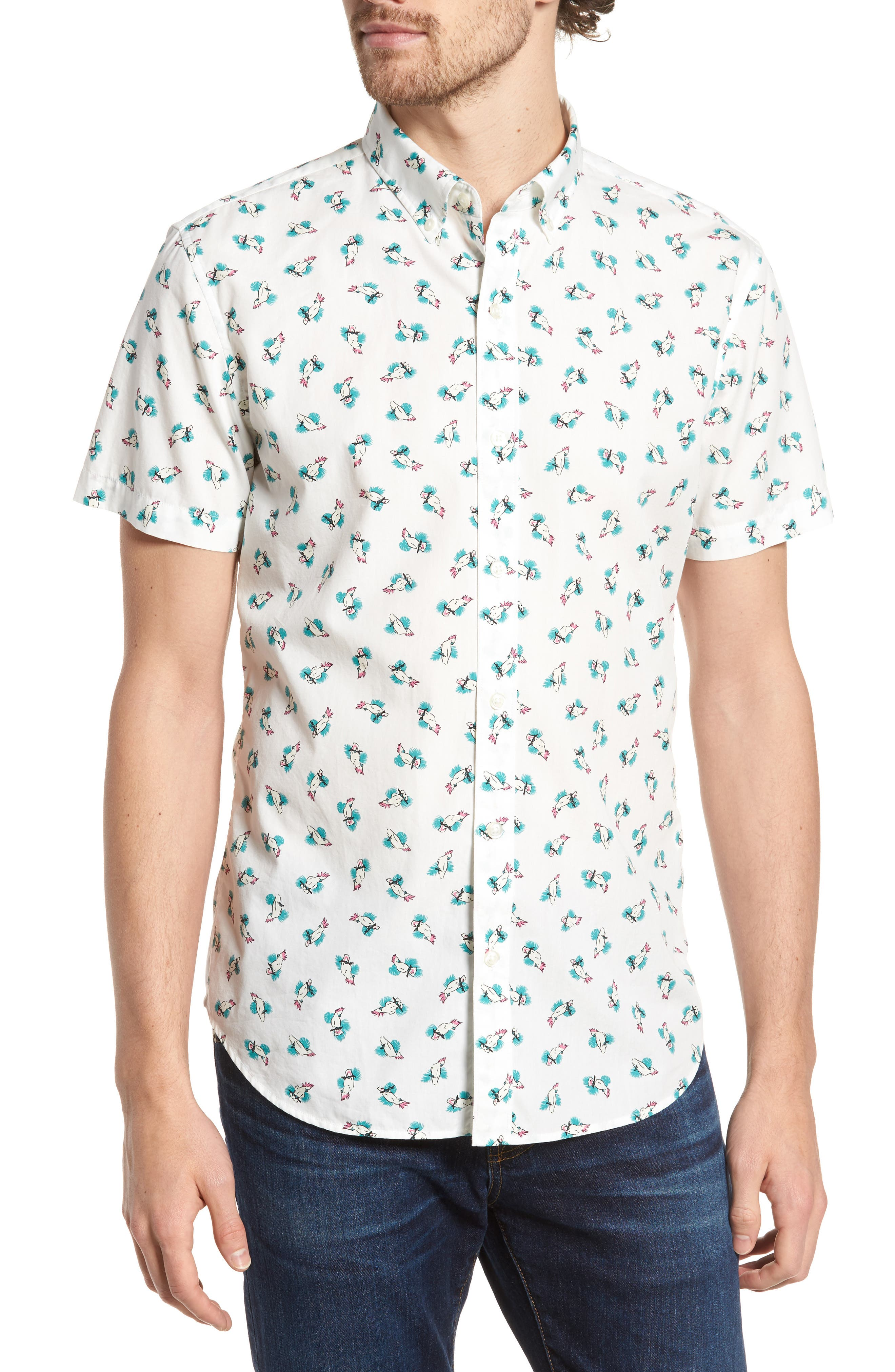Slim Fit Print Short Sleeve Sport Shirt,                         Main,                         color, Cockatoo - Latigo Bay