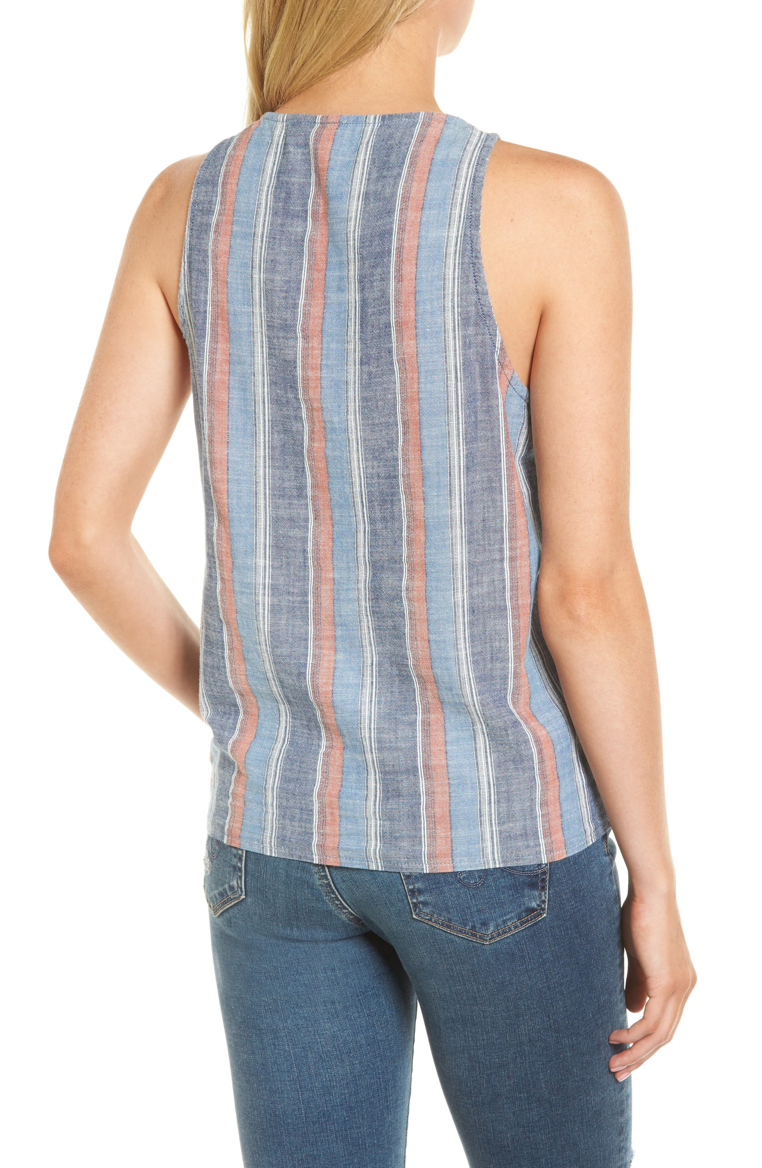 Cynthia Tie Front Tank,                             Alternate thumbnail 2, color,                             Blue Fig Multi
