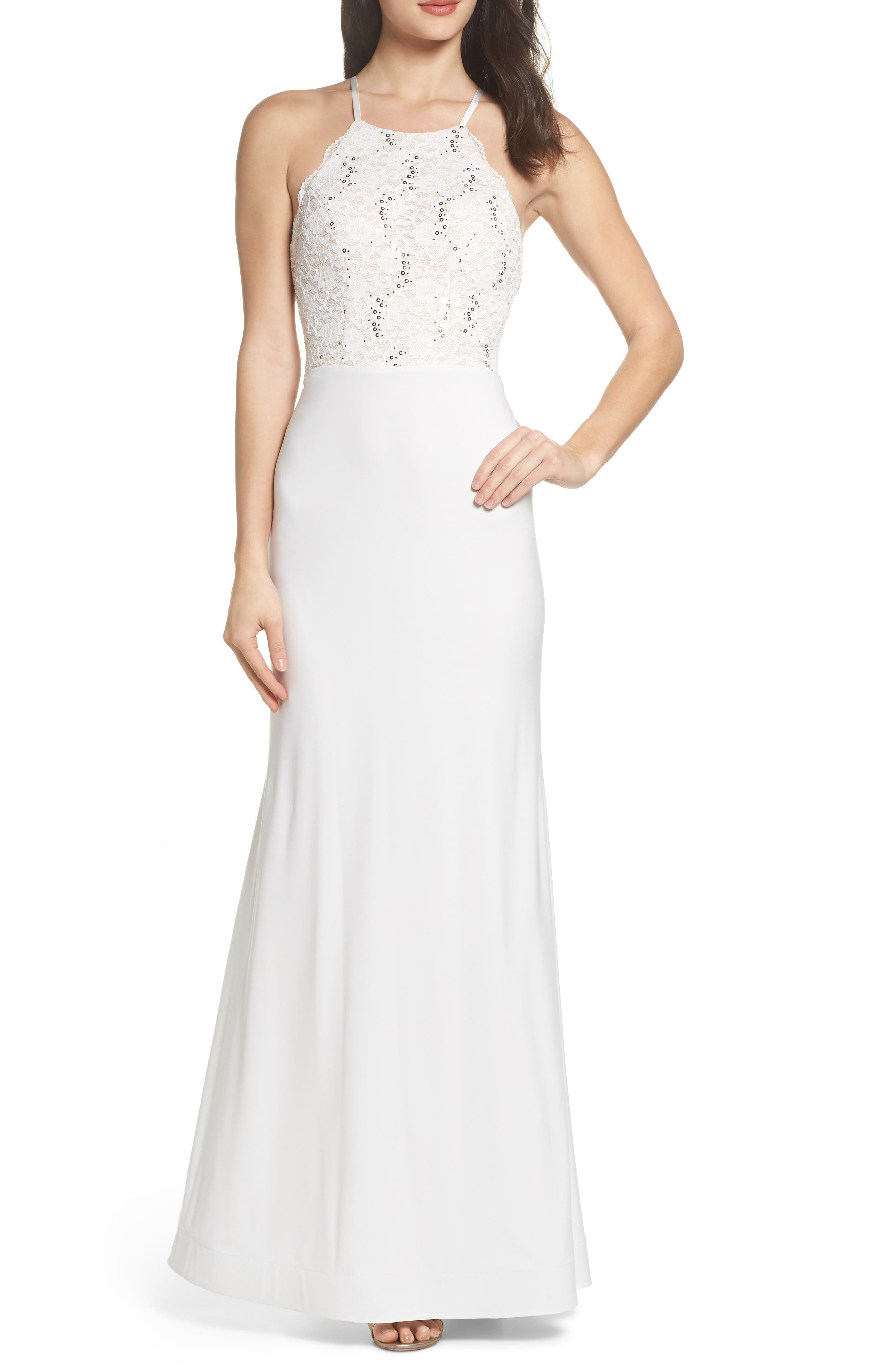 Ruffle Back Lace Gown,                         Main,                         color, Ivory/ Nude