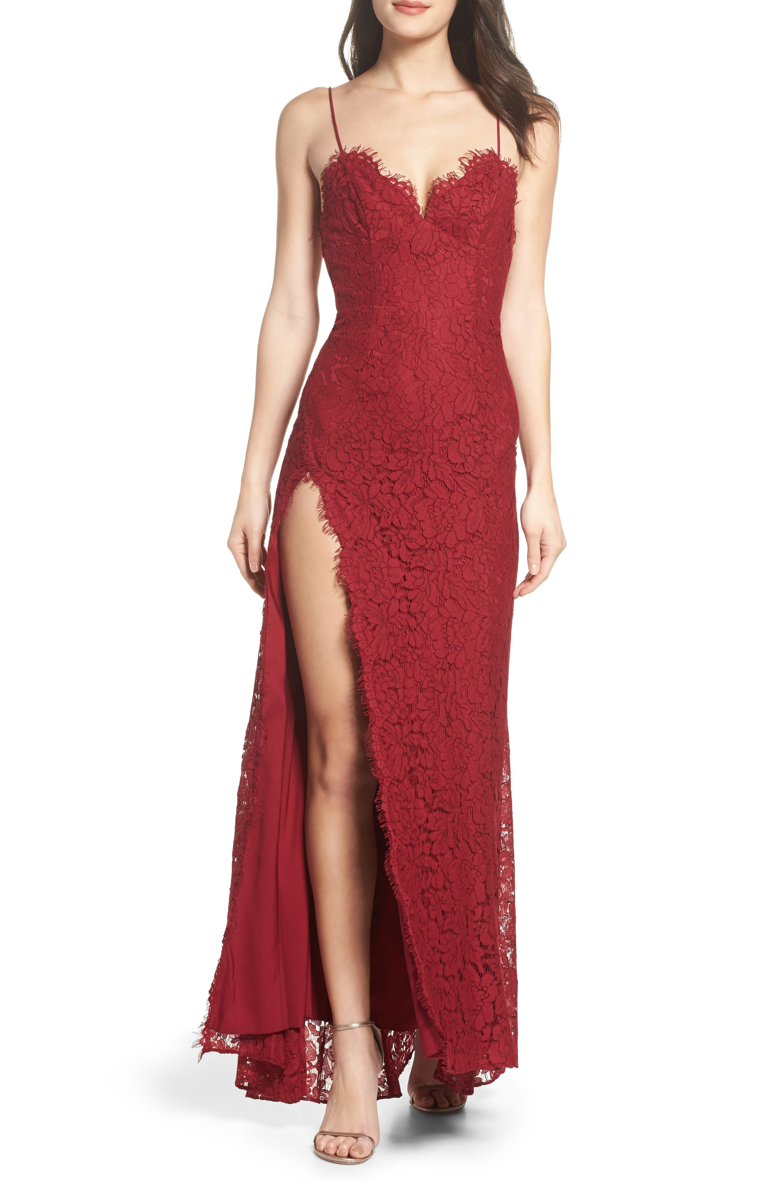Fame & Partners Everett Lace Gown,                         Main,                         color, Burgundy