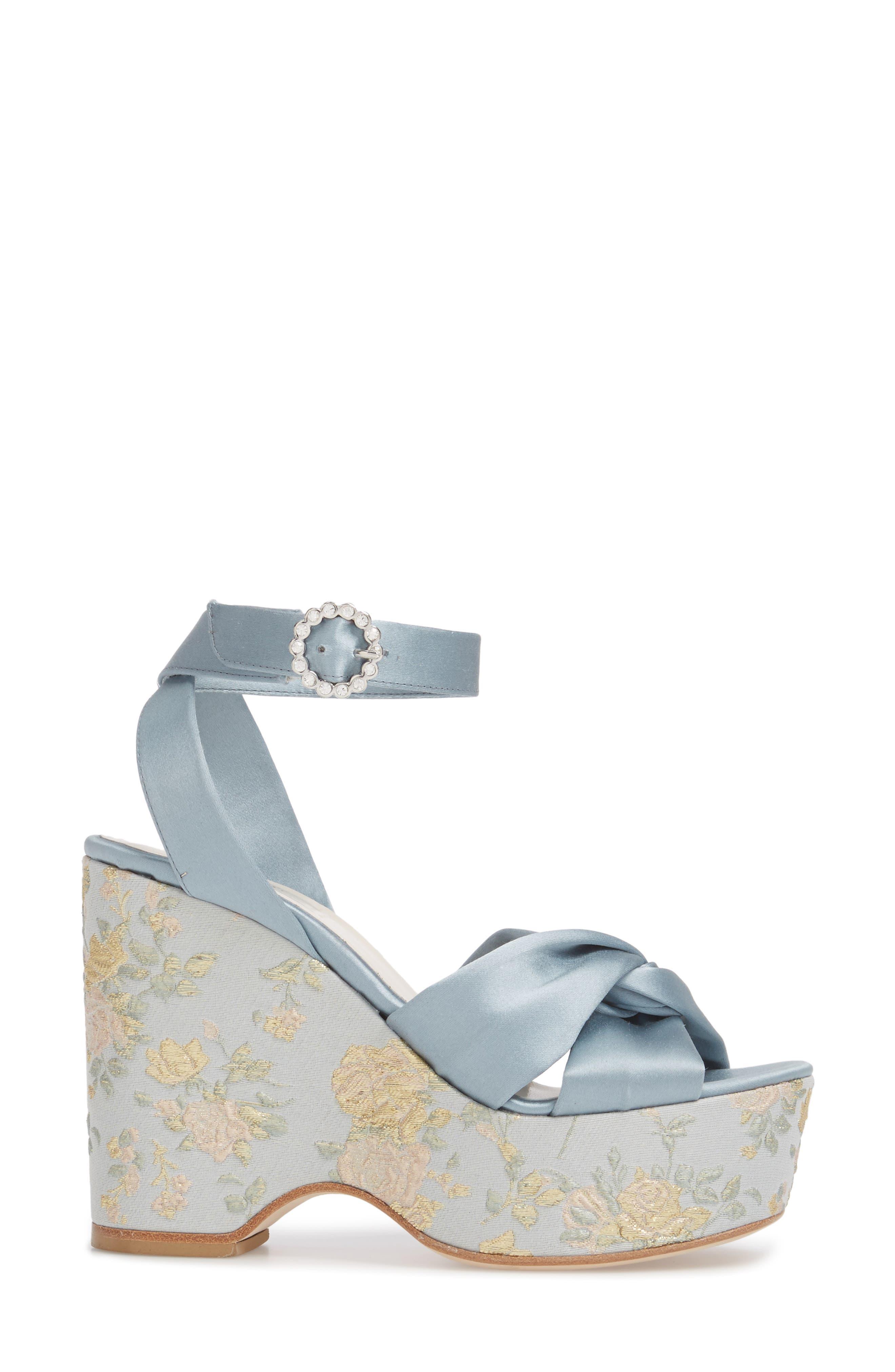 Serena Brocade Platform Sandal,                             Alternate thumbnail 3, color,                             Pearl Blue Satin