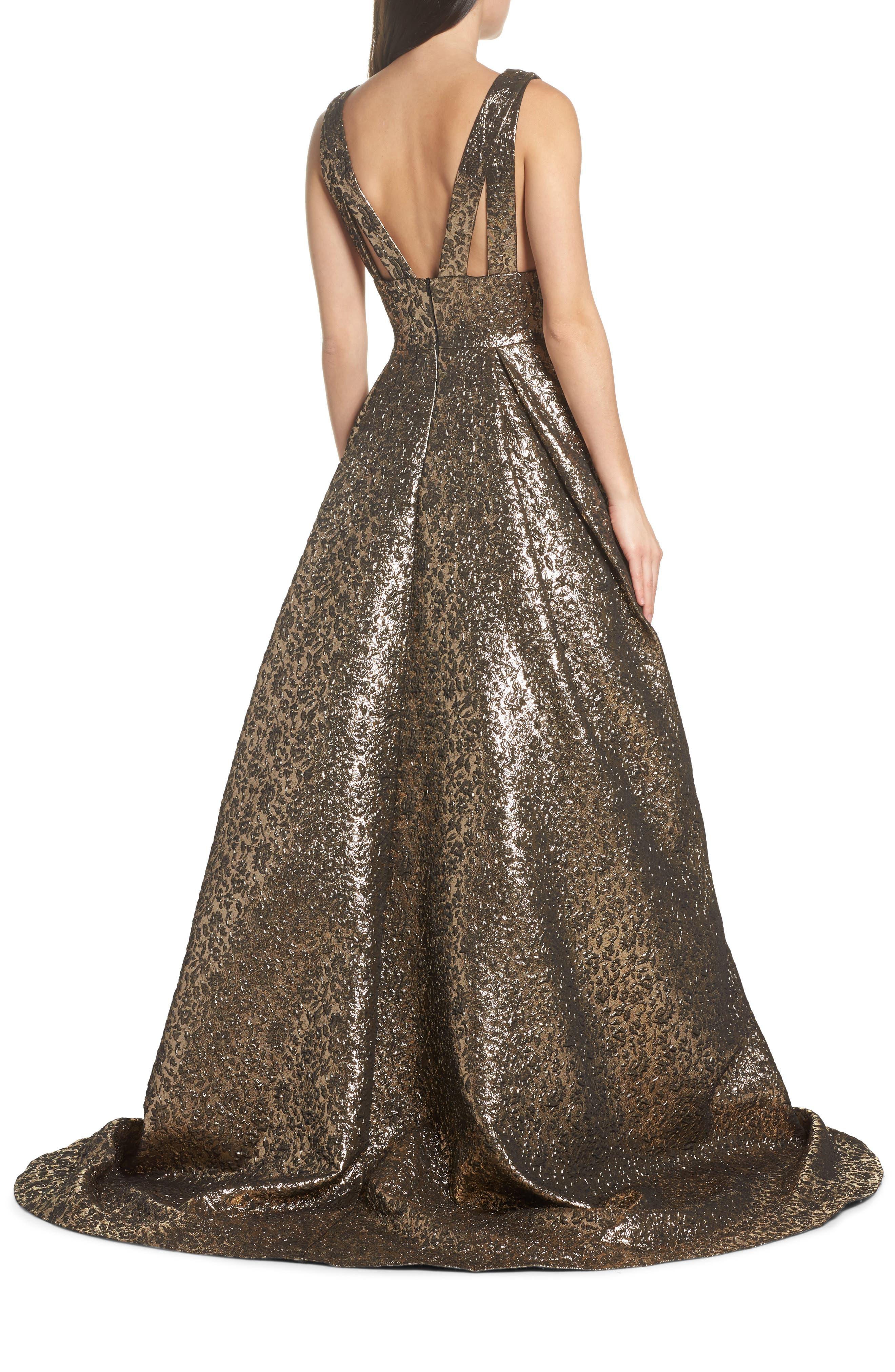 Metallic Jacquard Ballgown,                             Alternate thumbnail 2, color,                             Antique Gold