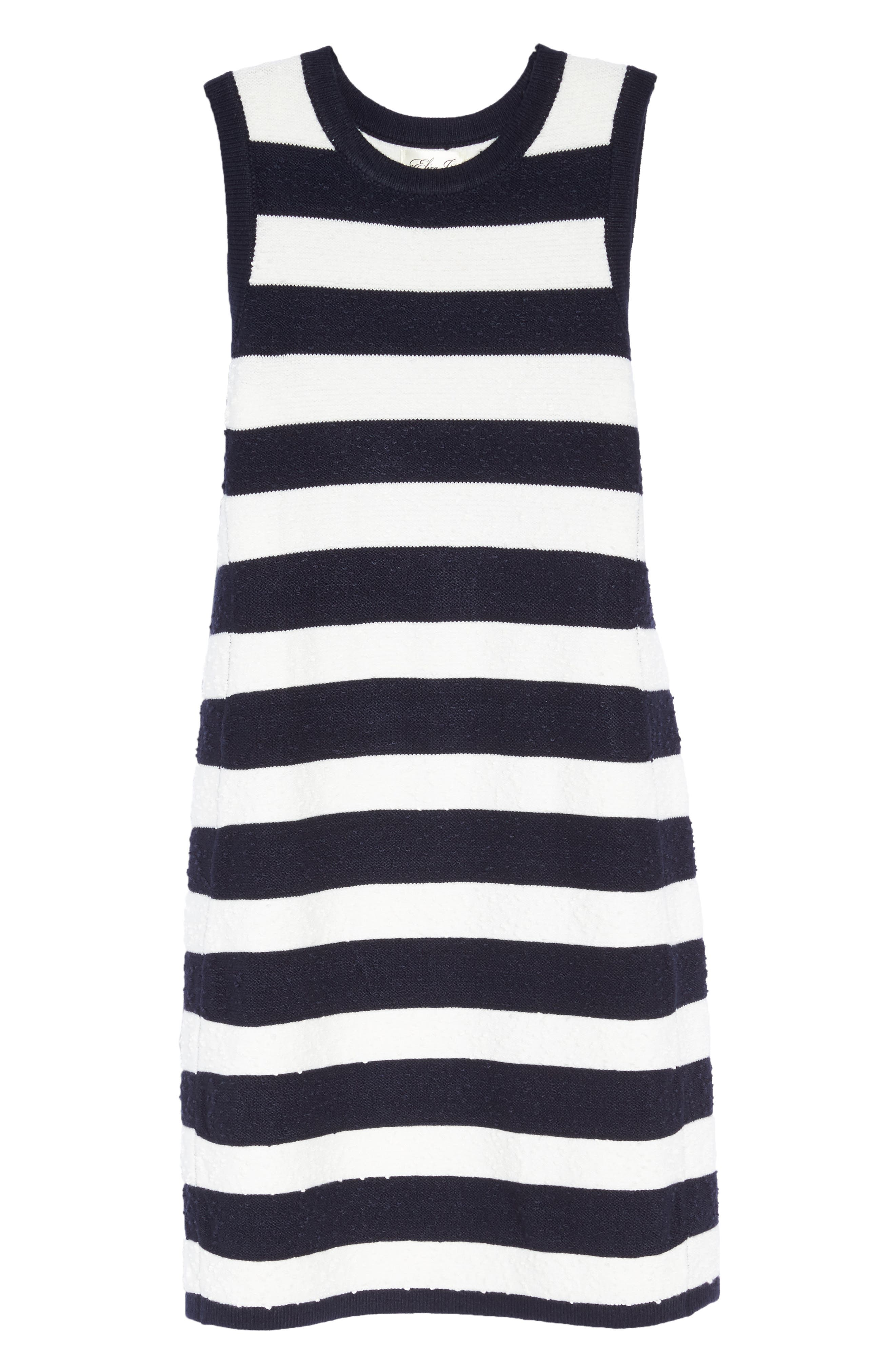 Stripe Sweater Dress,                             Alternate thumbnail 6, color,                             Navy/ Ivory